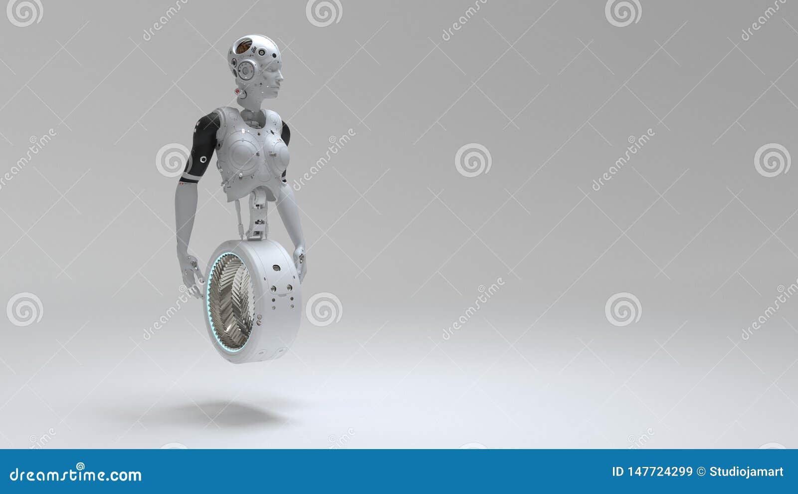 Mulher do robô, mundo digital da mulher da ficção científica do futuro