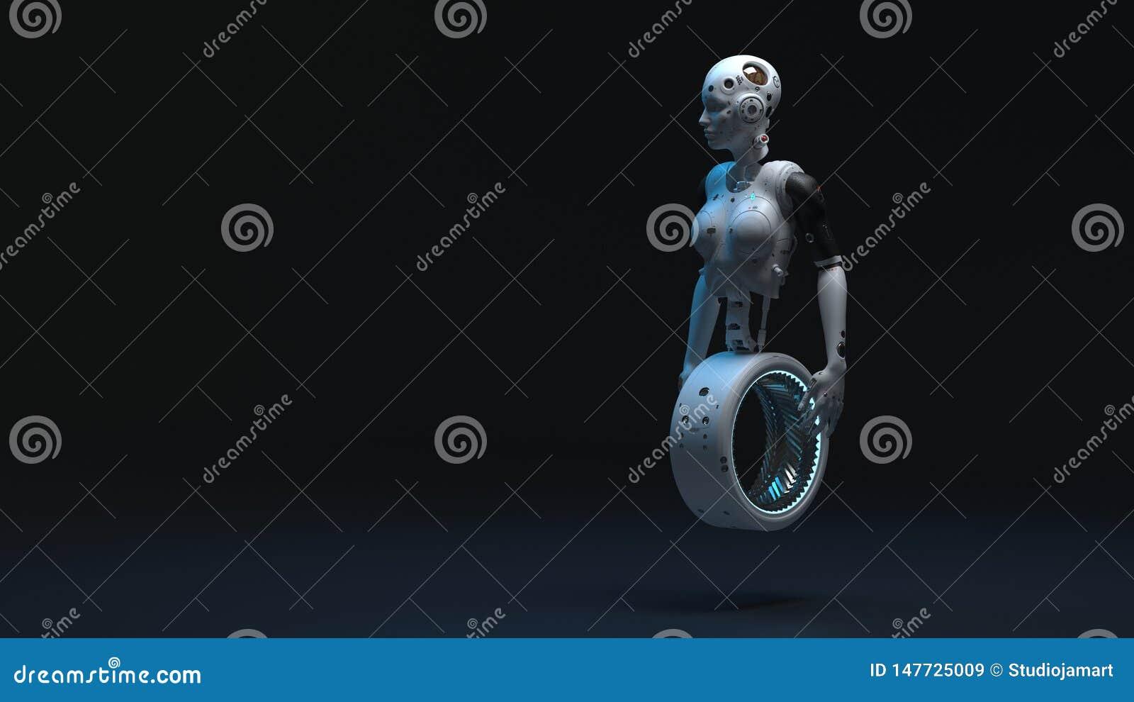 Mulher do rob?, mundo digital da mulher da fic??o cient?fica do futuro
