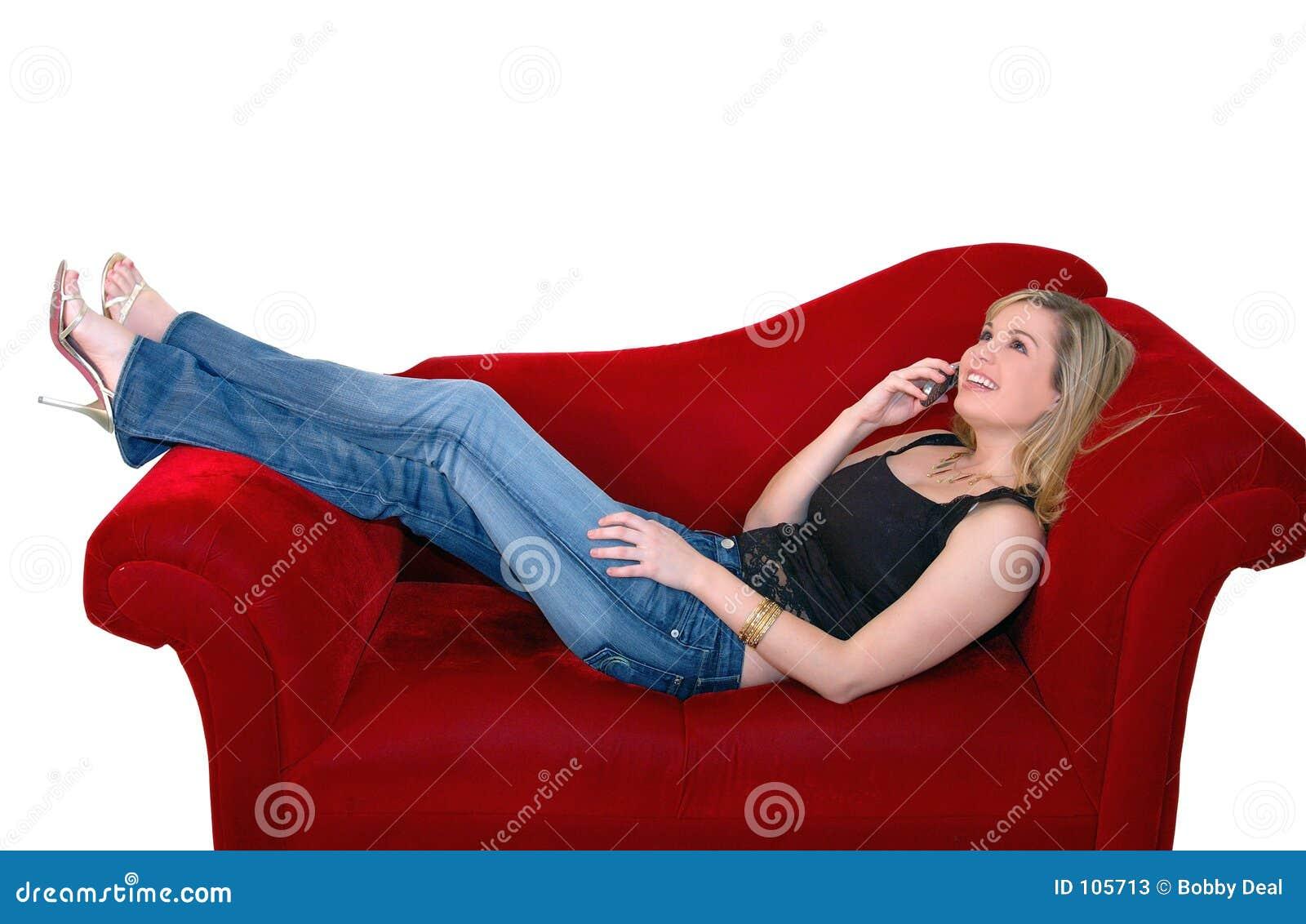 Mulher do telefone de pilha