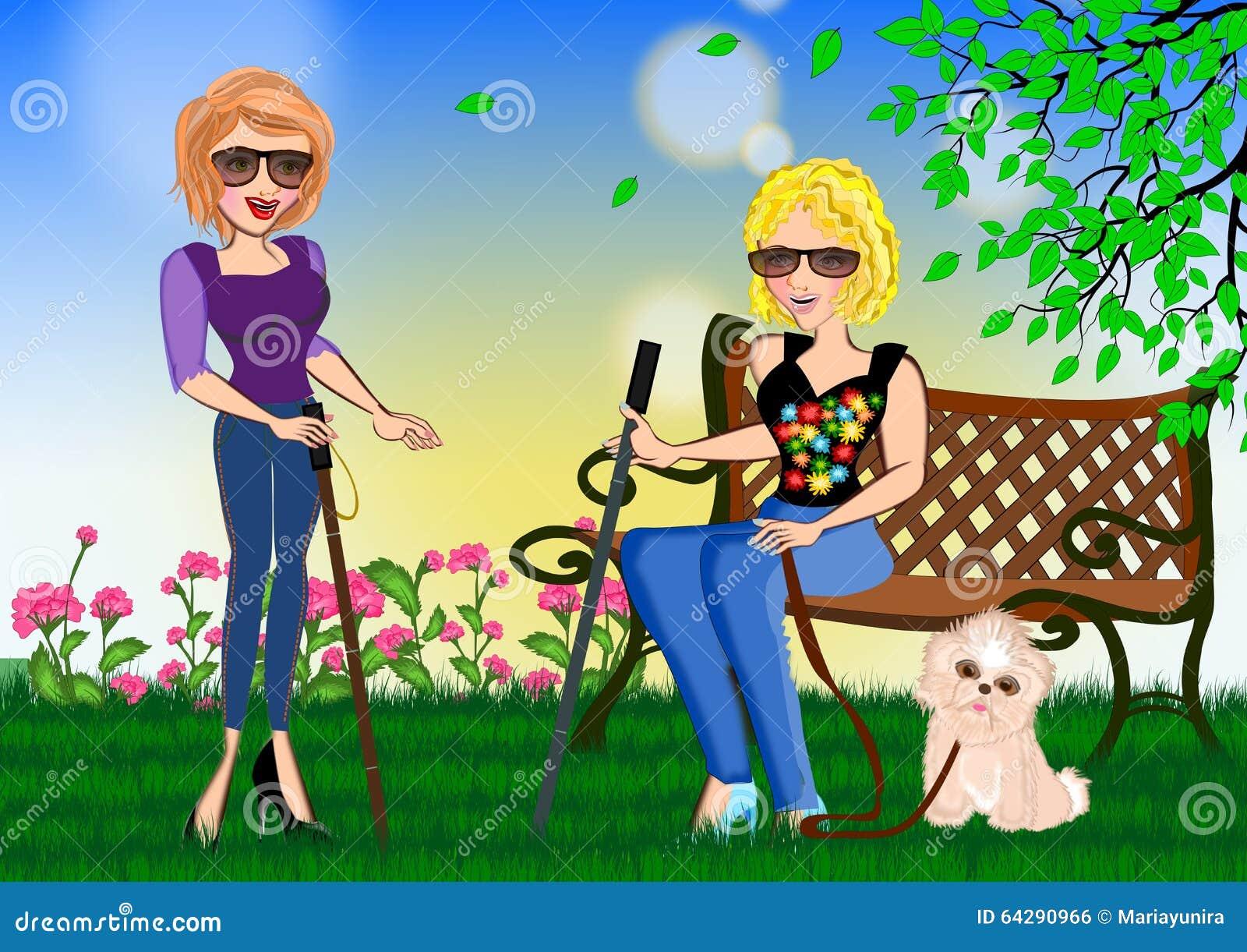 Mulher dois cega que dá o incentivo entre si
