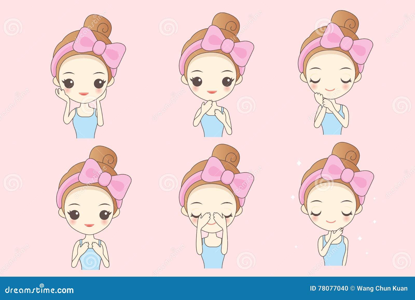 Mulher dos cuidados com a pele dos desenhos animados