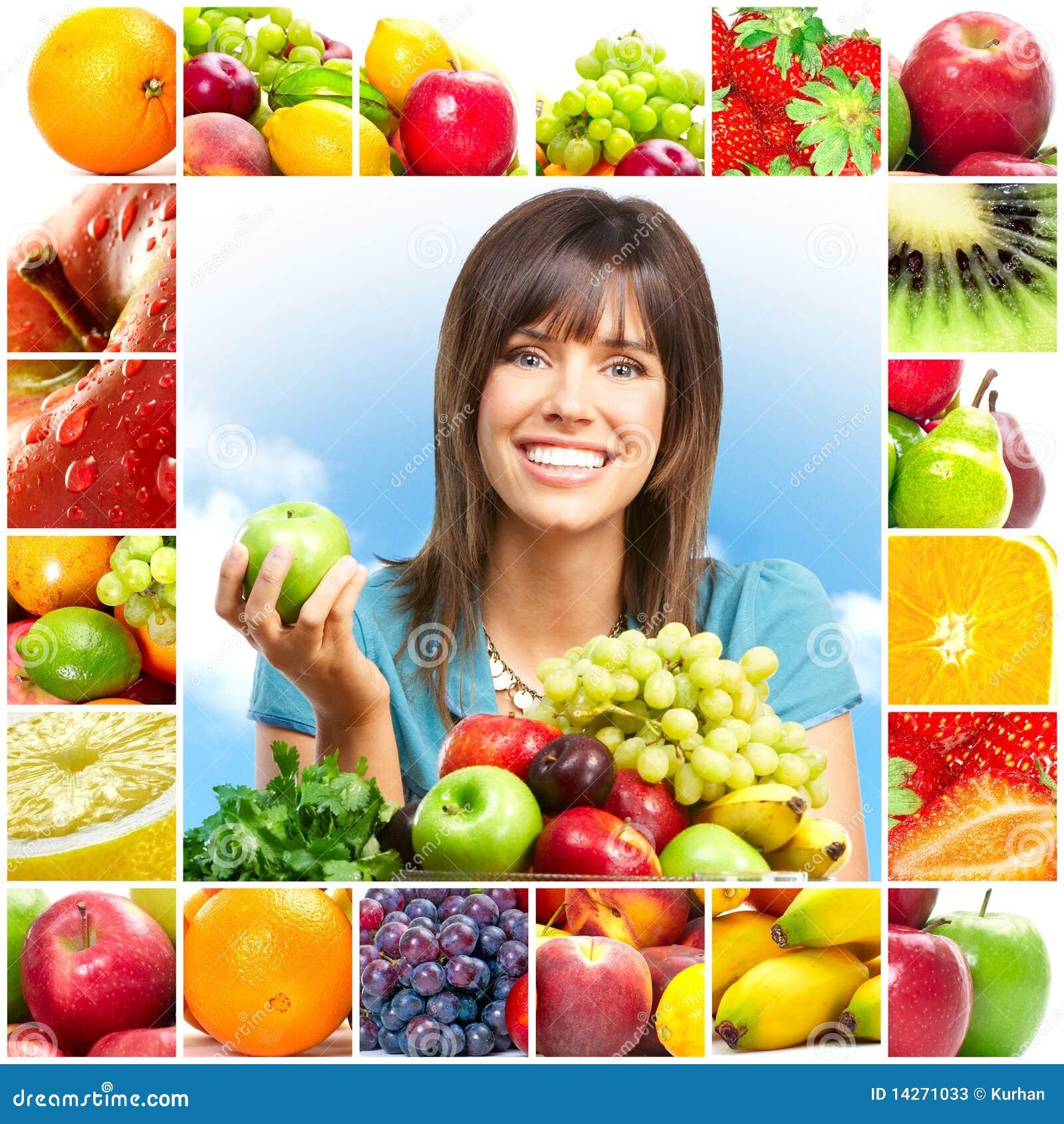 Mulher e frutas