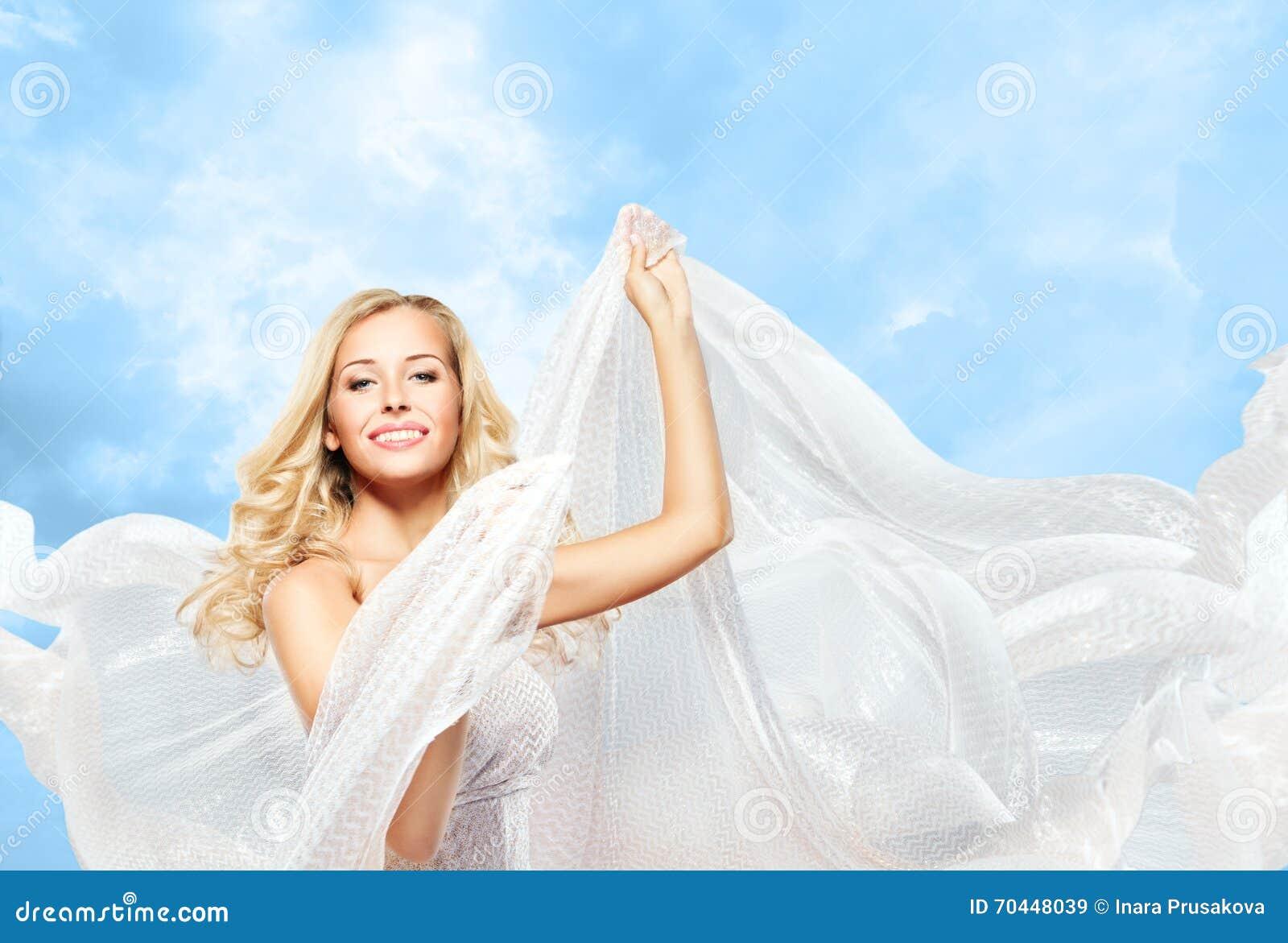 Mulher e tela de seda de voo, modelo de forma Girl Dancing Cloth