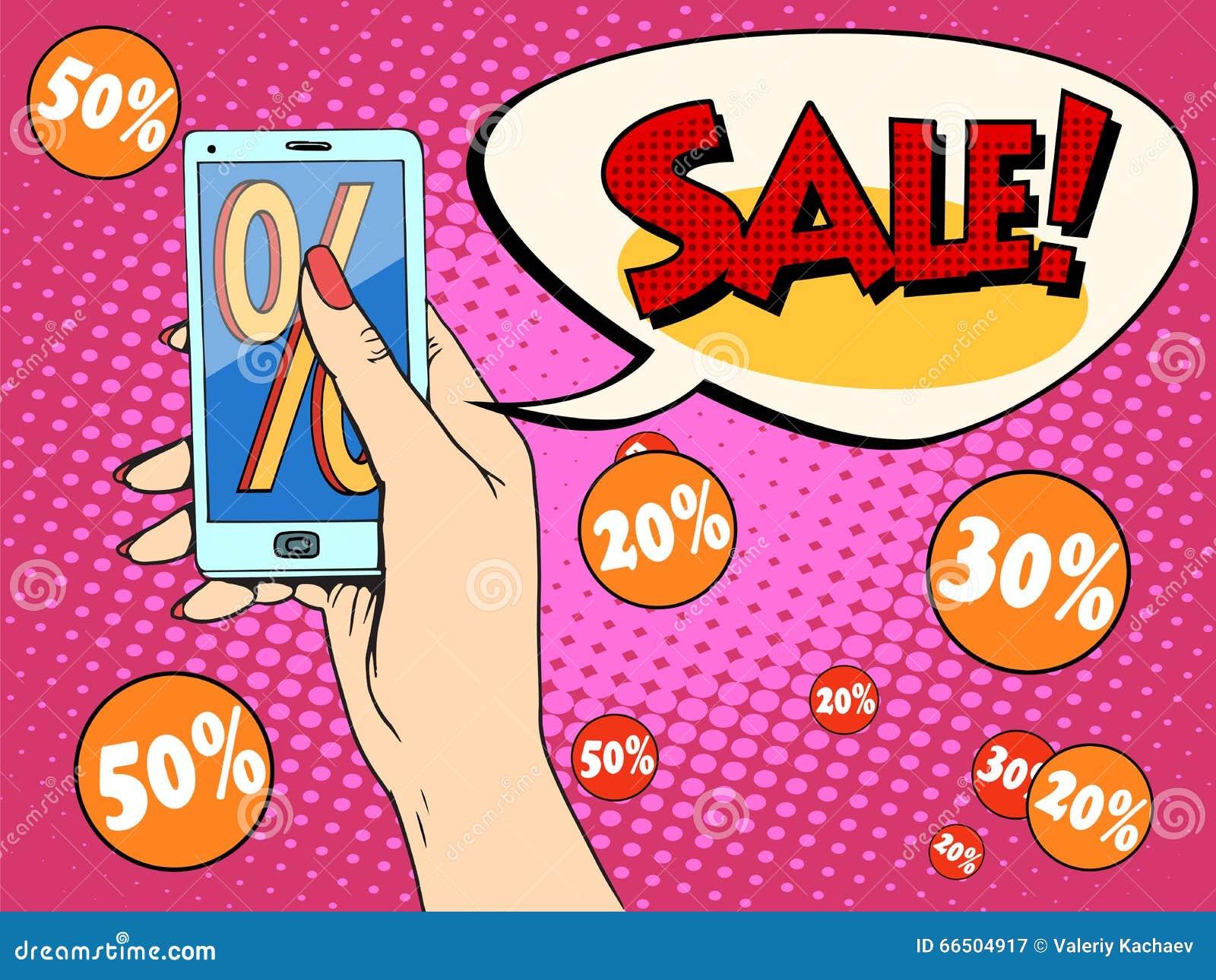 Mulher em linha do app do smartphone da loja do disconto