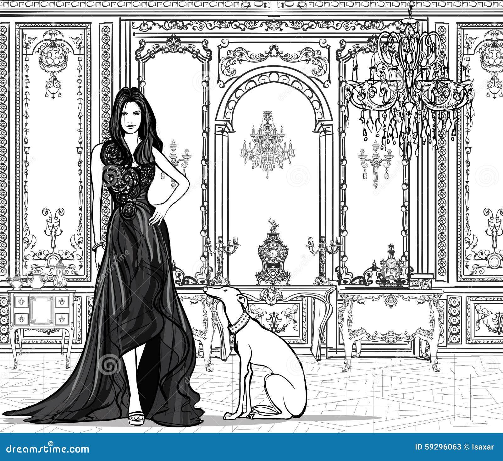 Mulher em um palácio com um galgo
