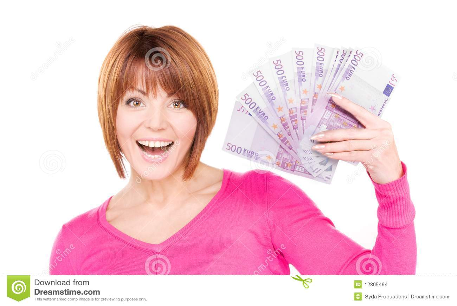 Mulher feliz com dinheiro