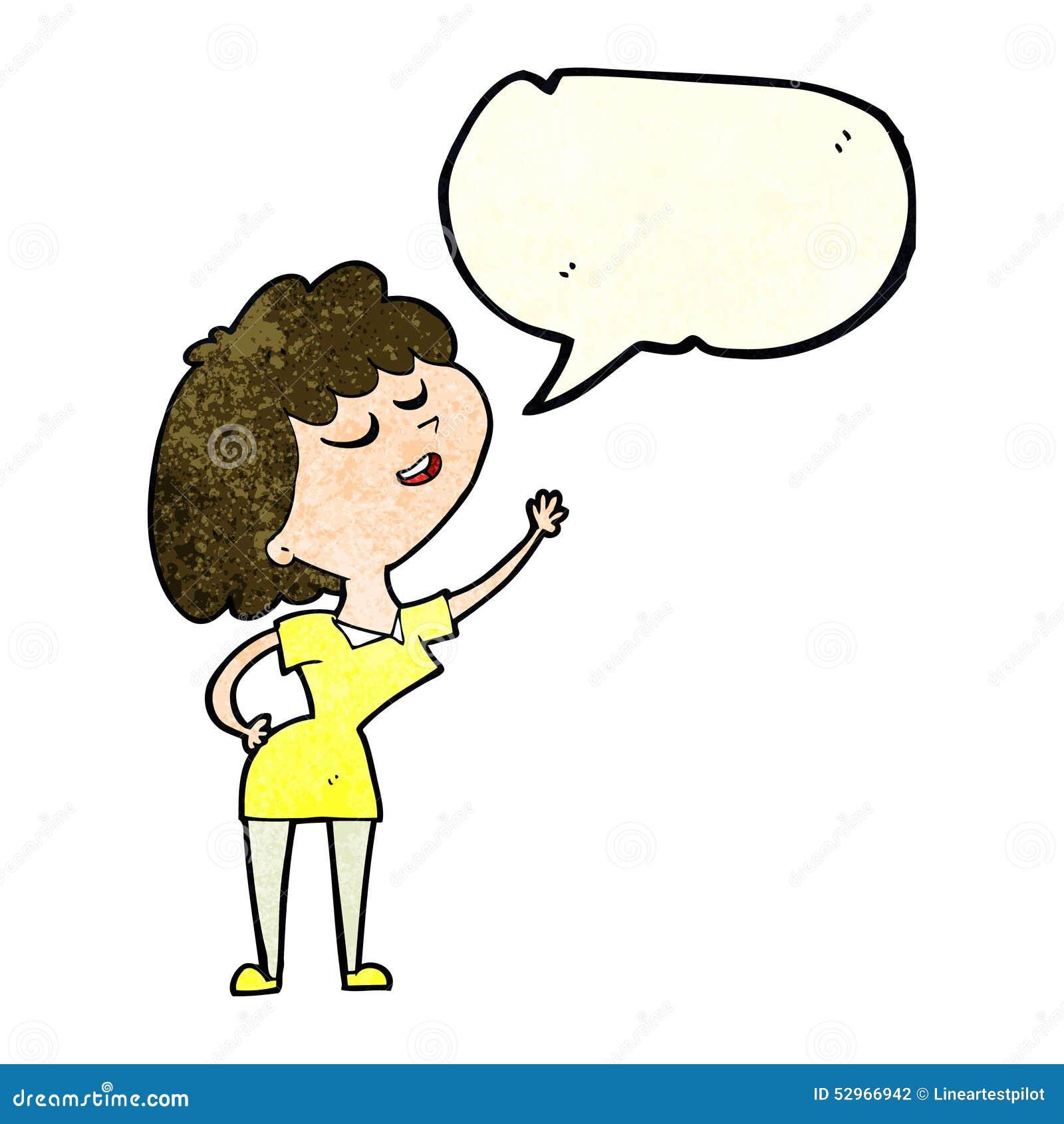Mulher feliz dos desenhos animados aproximadamente a falar com a bolha do discurso