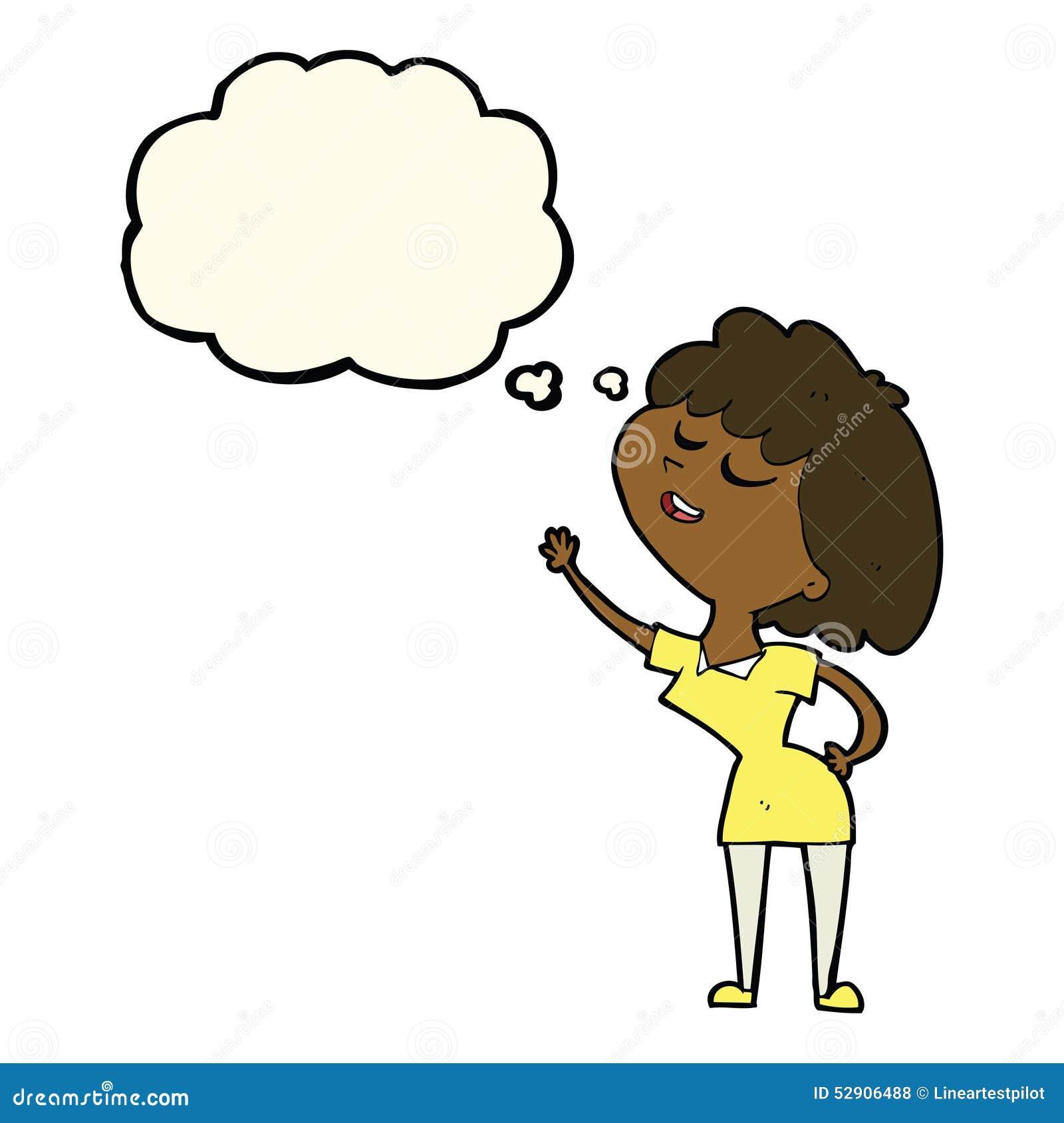 Mulher feliz dos desenhos animados aproximadamente a falar com a bolha do pensamento