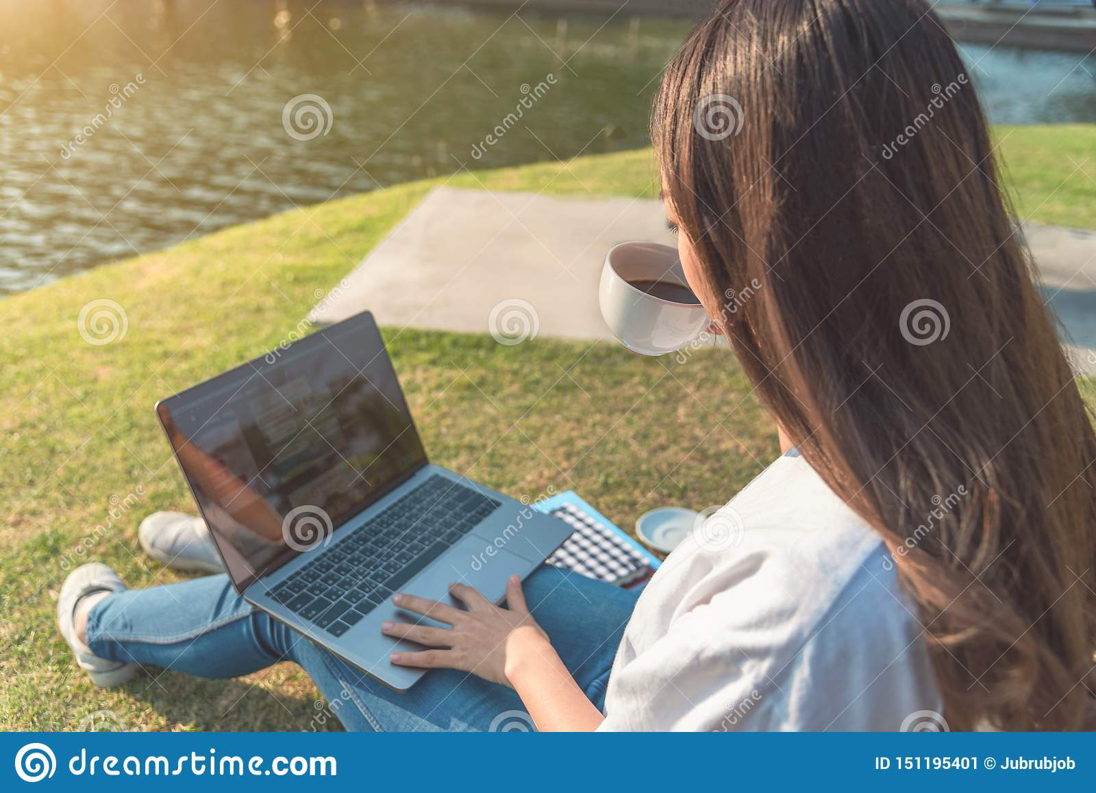 Mulher feliz que usa o portátil no parque, tonificado intencionalmente