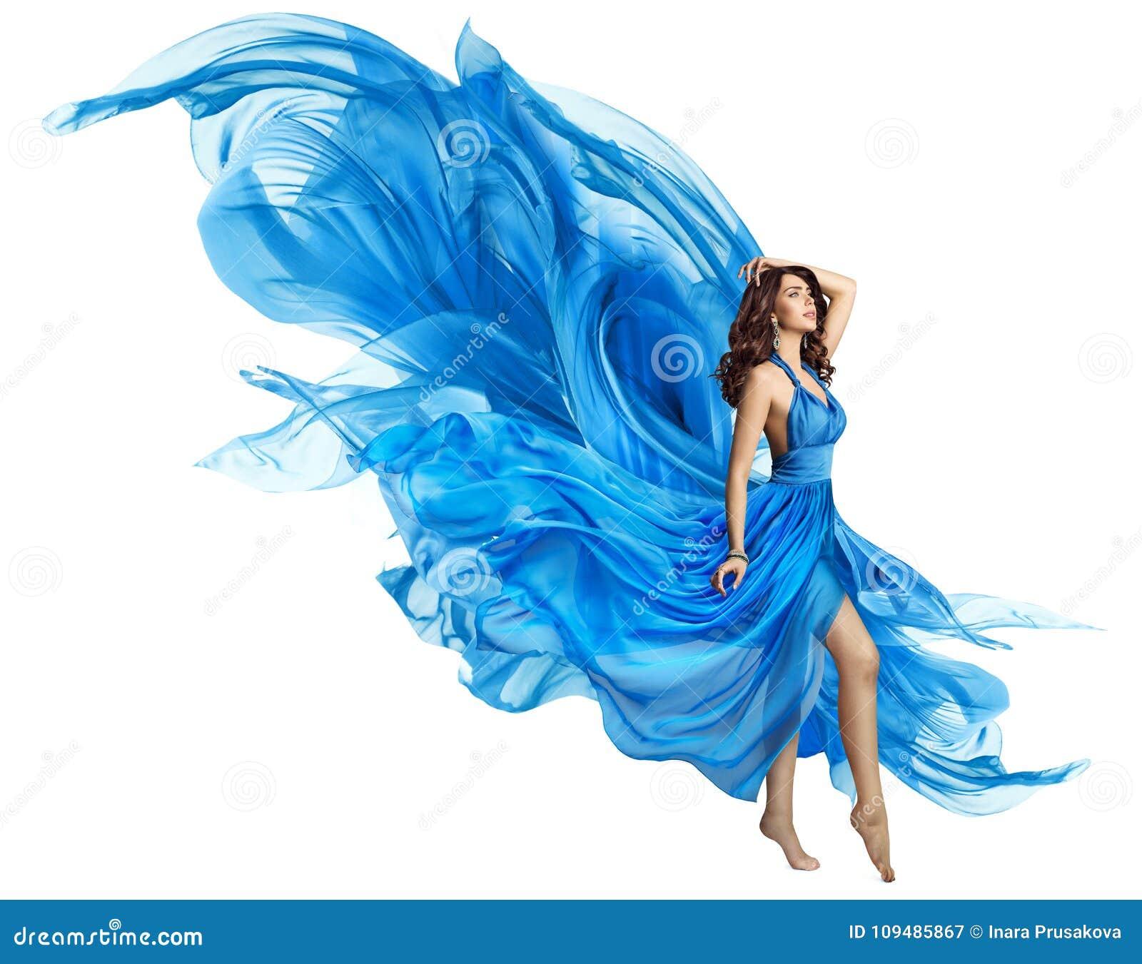 A mulher Flying Blue veste-se, modelo de forma elegante Fluttering Gown