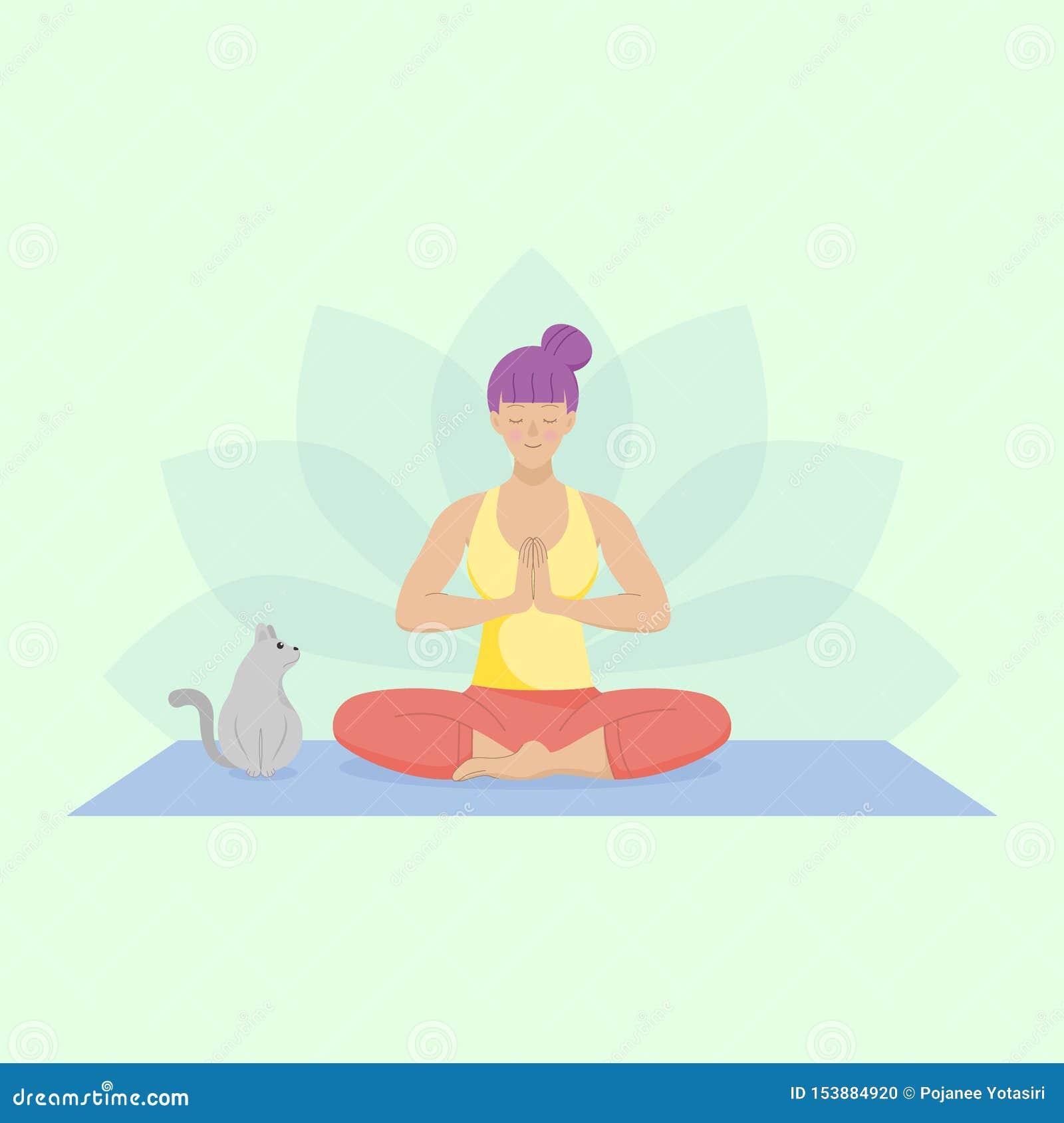 Mulher lisa que pratica a ioga fácil Assento para baixo na esteira com um gato bonito