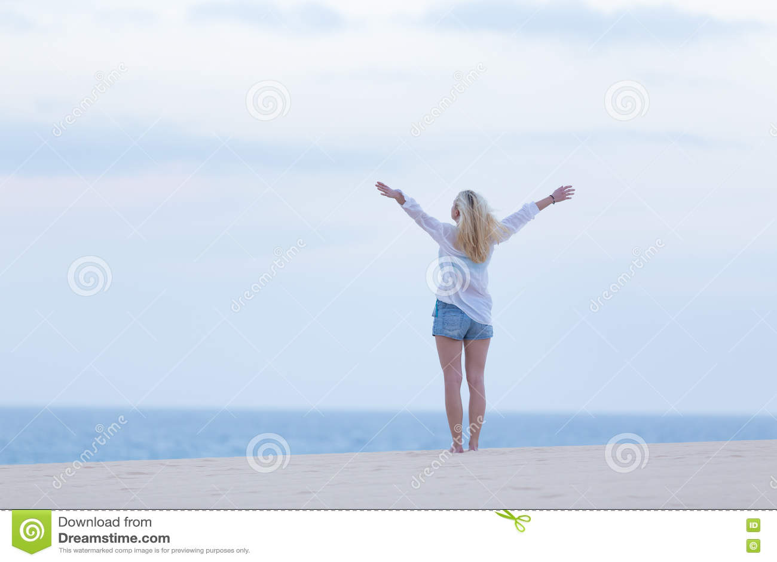 Mulher livre que aprecia a liberdade na praia no crepúsculo