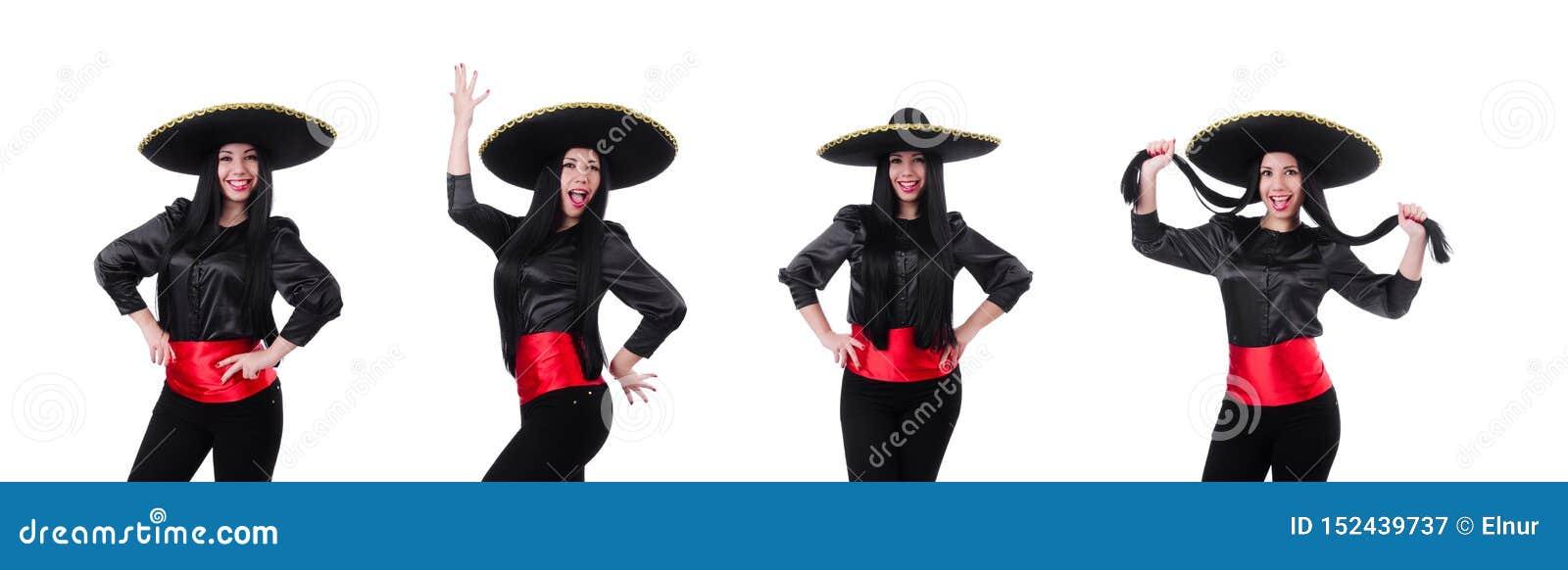 Mulher mexicana isolada no fundo branco
