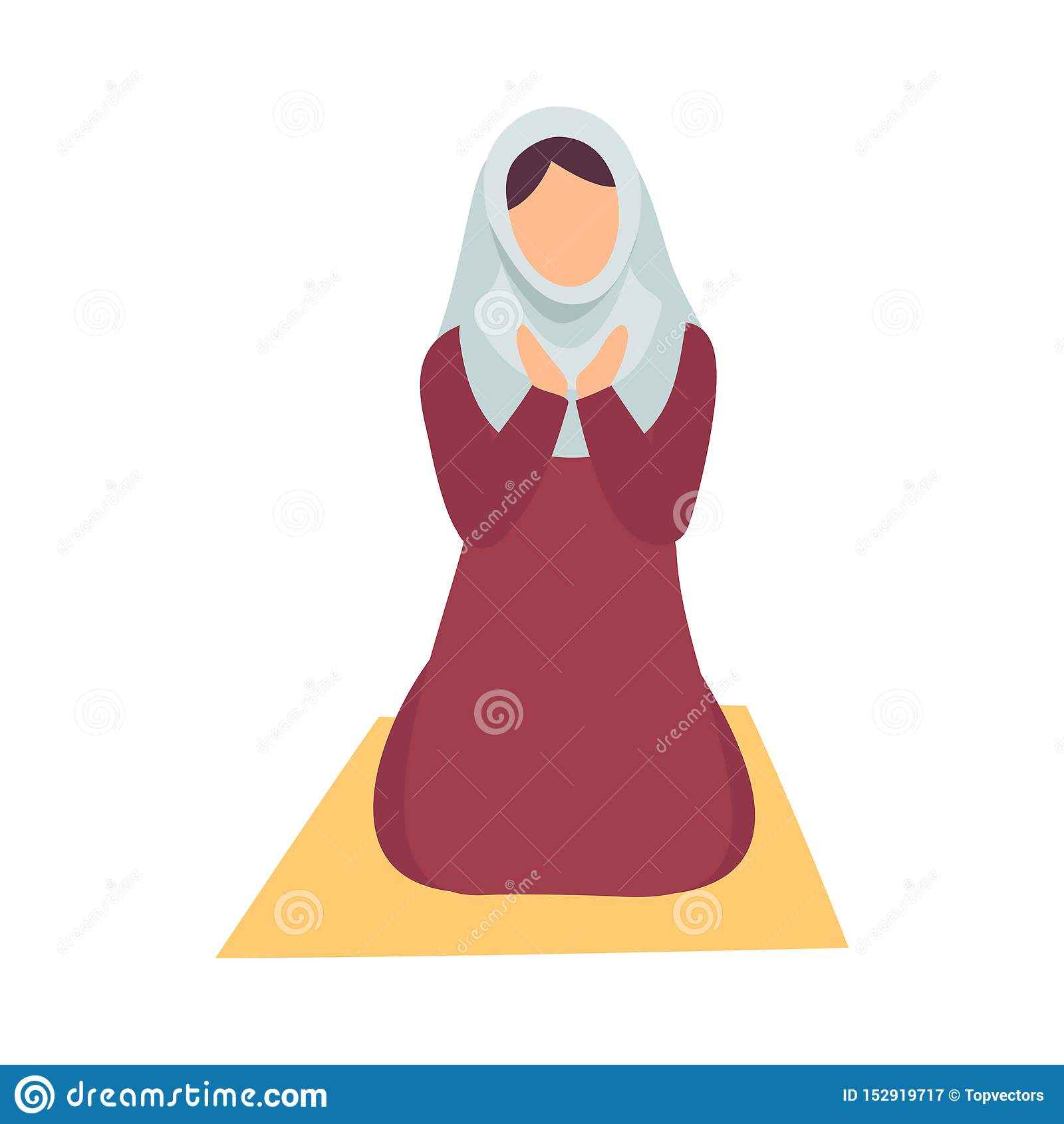Mulher muçulmana em Hijab que reza em seus joelhos, ilustração do vetor do feriado de Eid Al Adha Muslim Holy Islamic