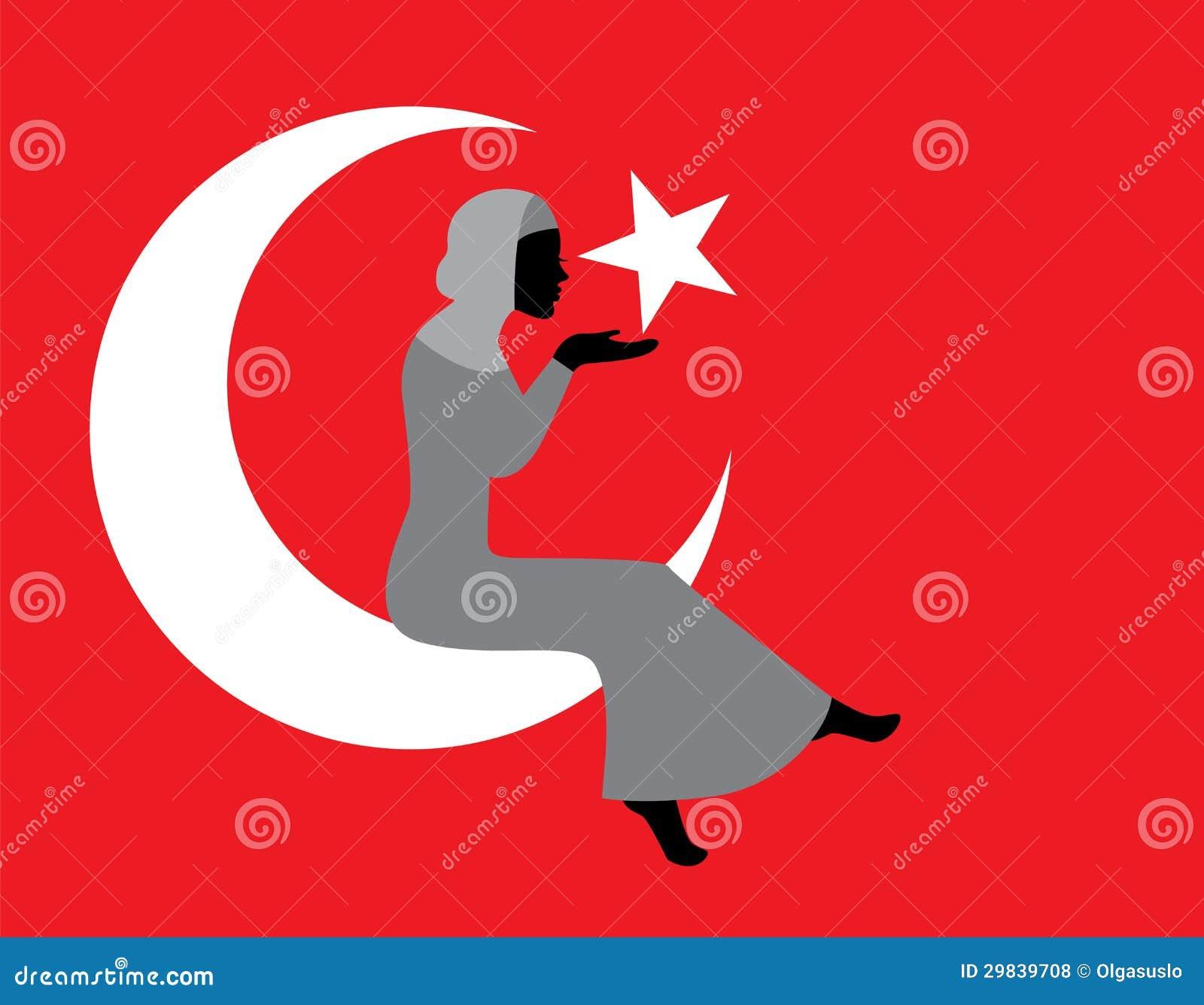 Mulher muçulmana com uma bandeira turca