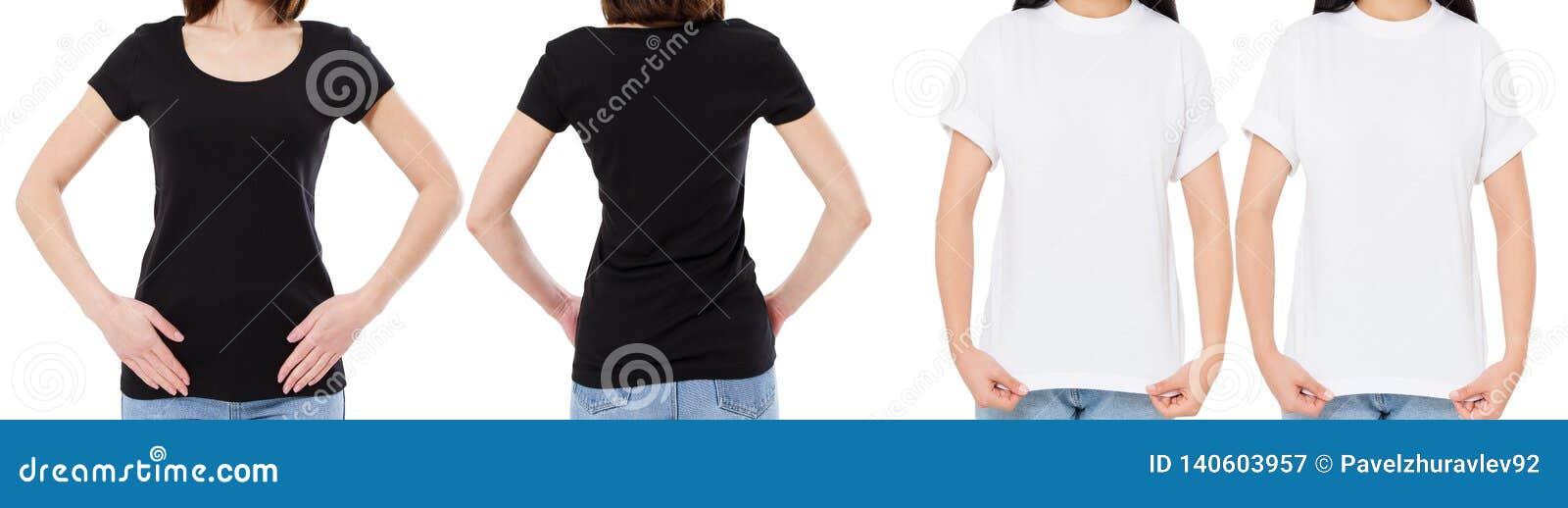 A mulher na camisa branca e preta de T isolou as opções do t-shirt da placa da imagem de Front And Rear Views Cropped, menina no