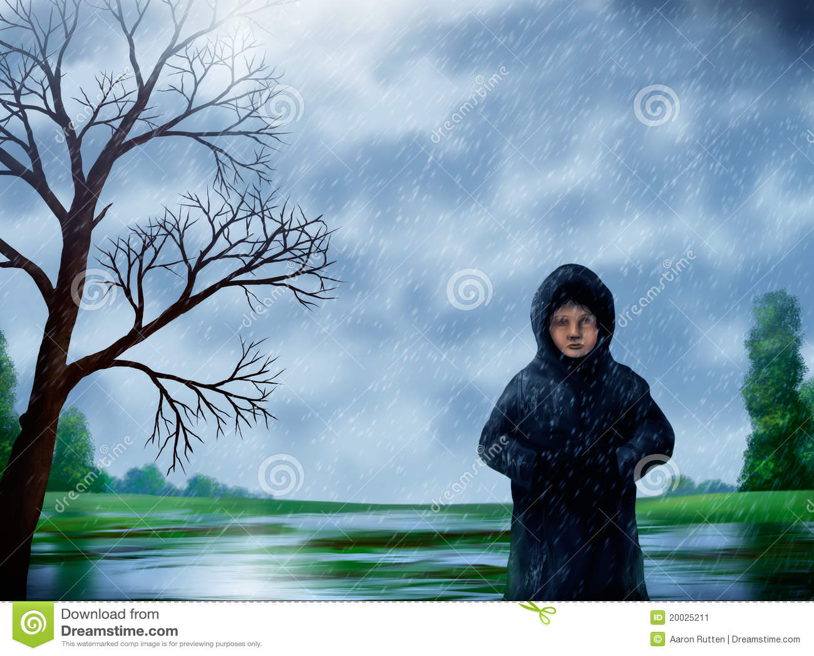 Mulher na pintura da chuva