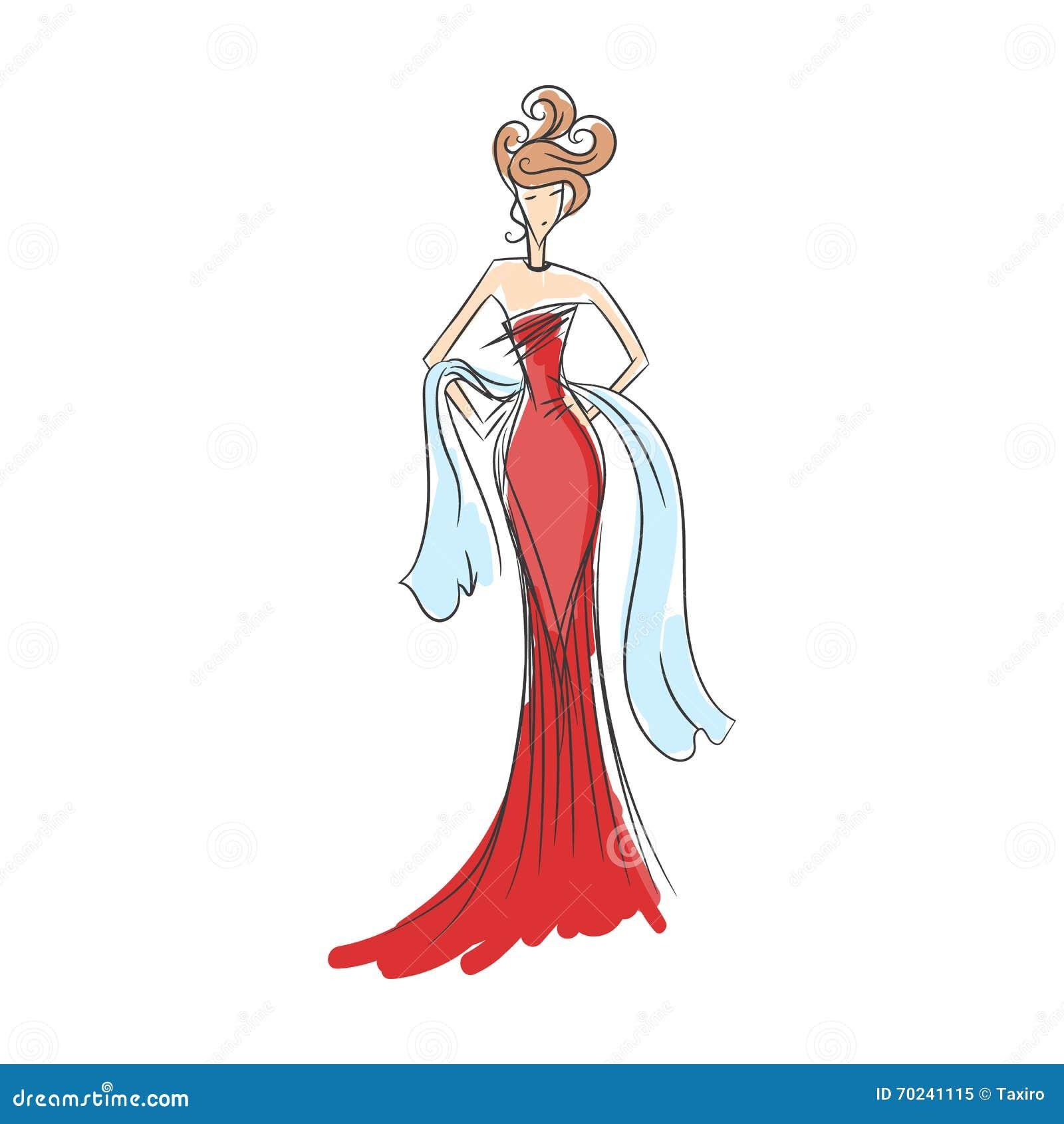Mulher na silhueta do vestido de bola