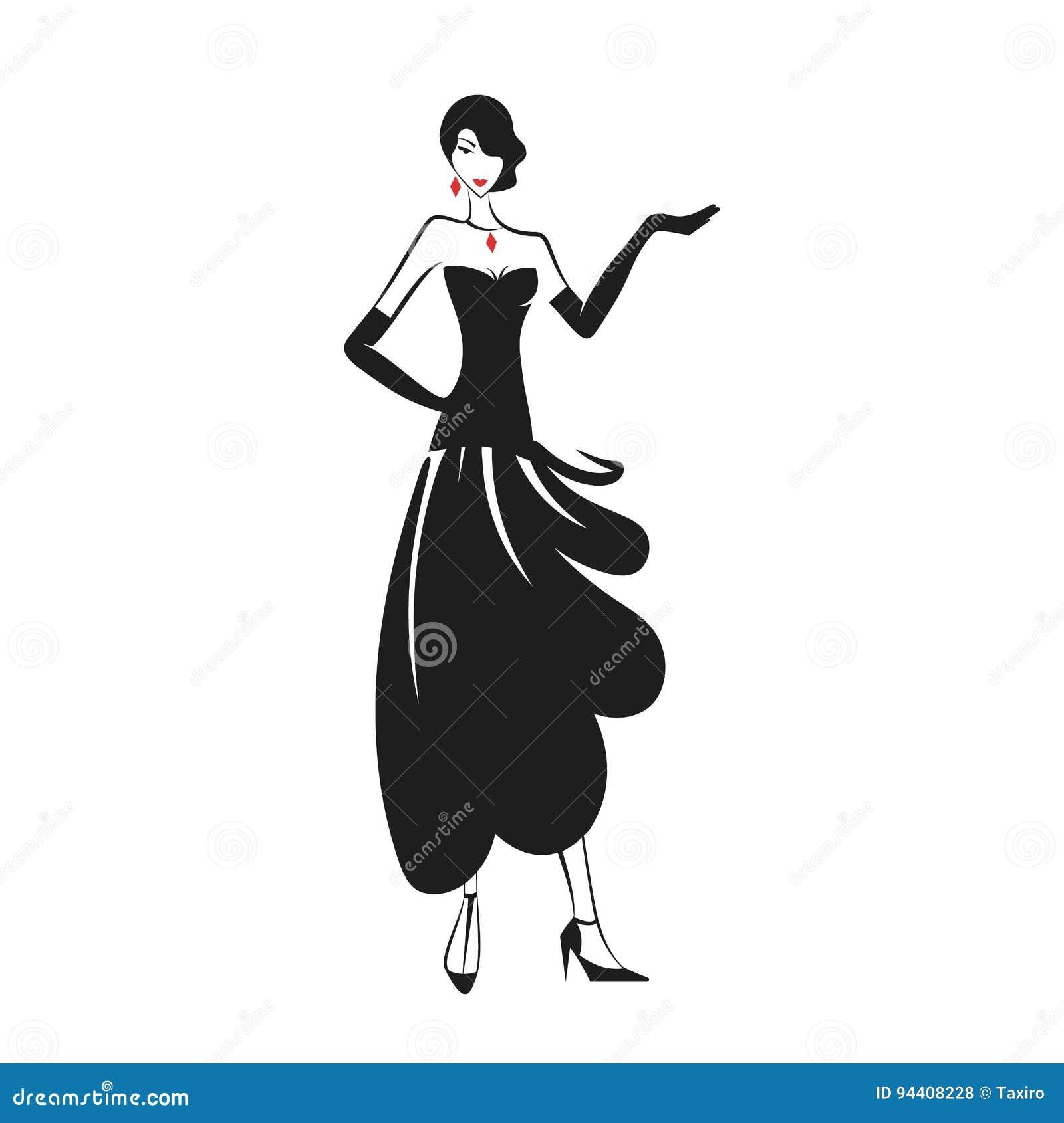 Mulher no preto do vestido de bola