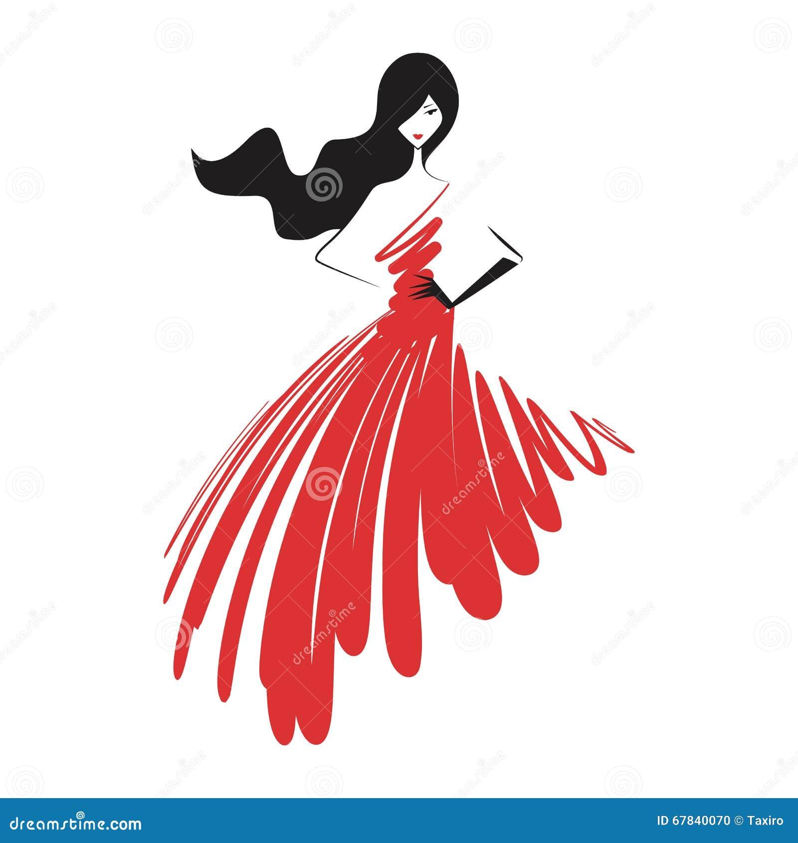 Mulher no vermelho do vestido de bola