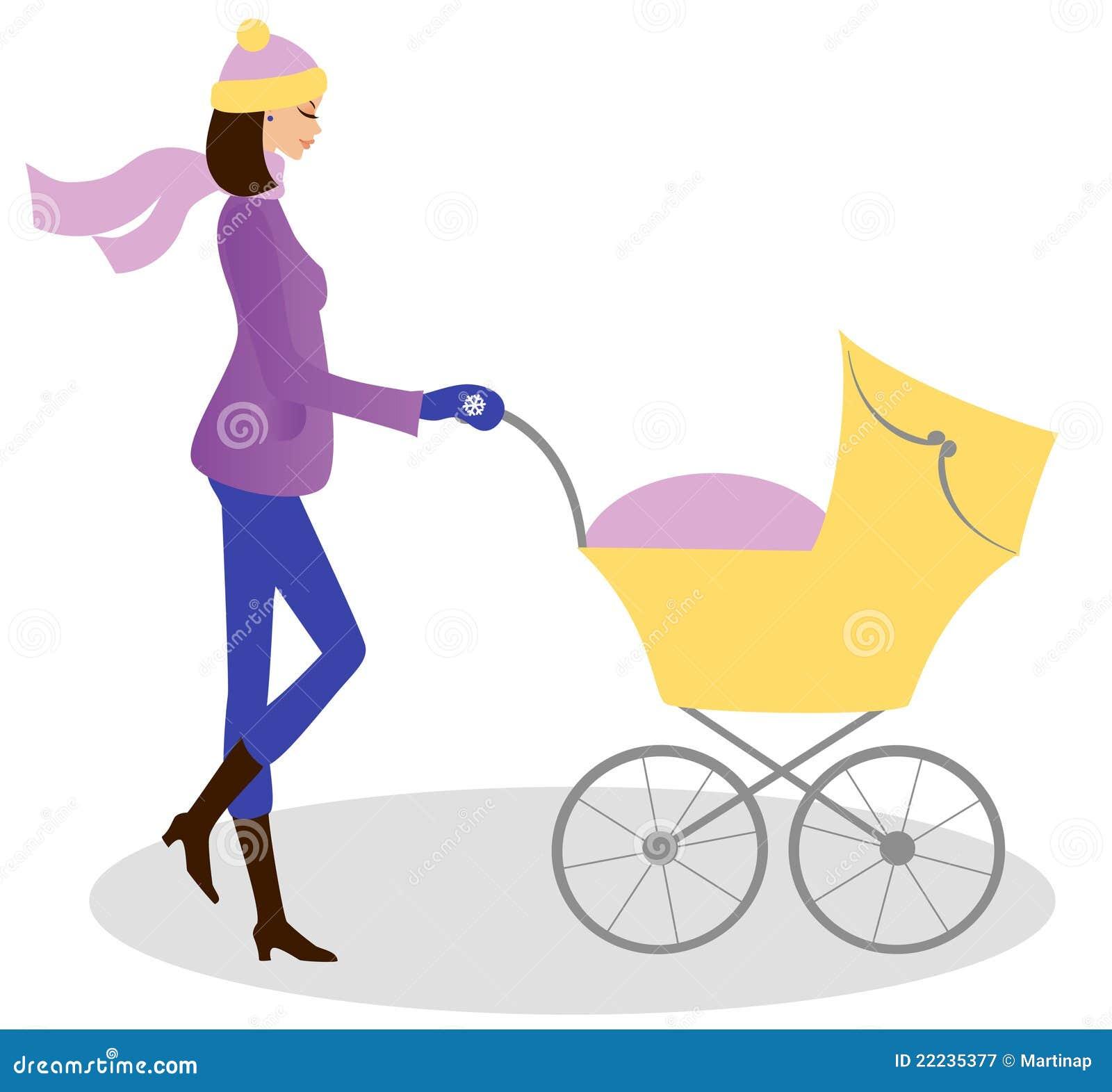 Mulher nova com carrinho de criança