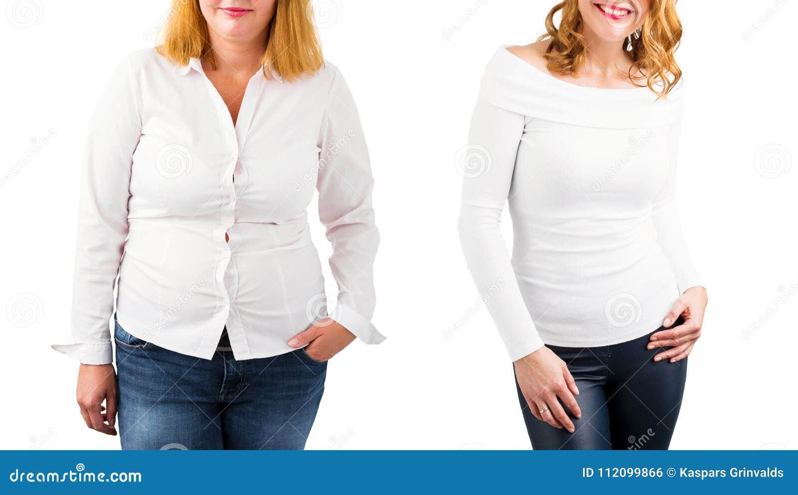 Mulher ocasional antes e depois da perda de peso, isolada no branco