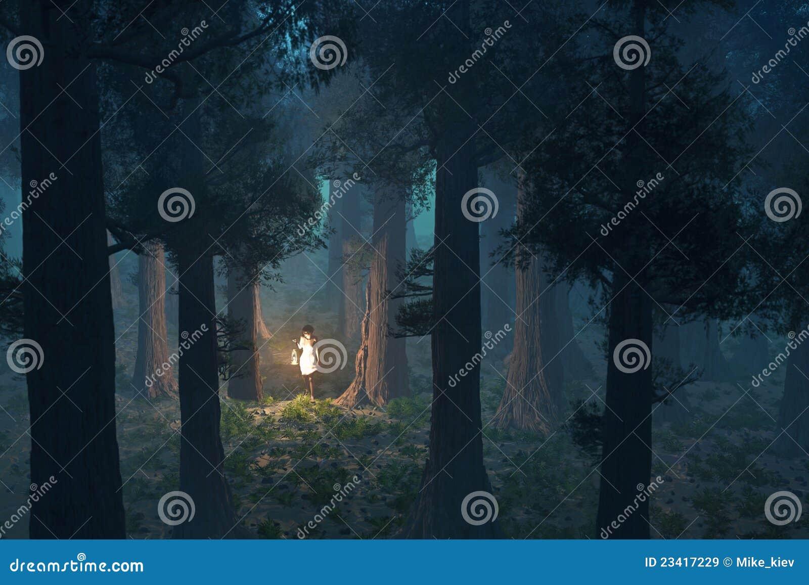 Mulher perdida na floresta