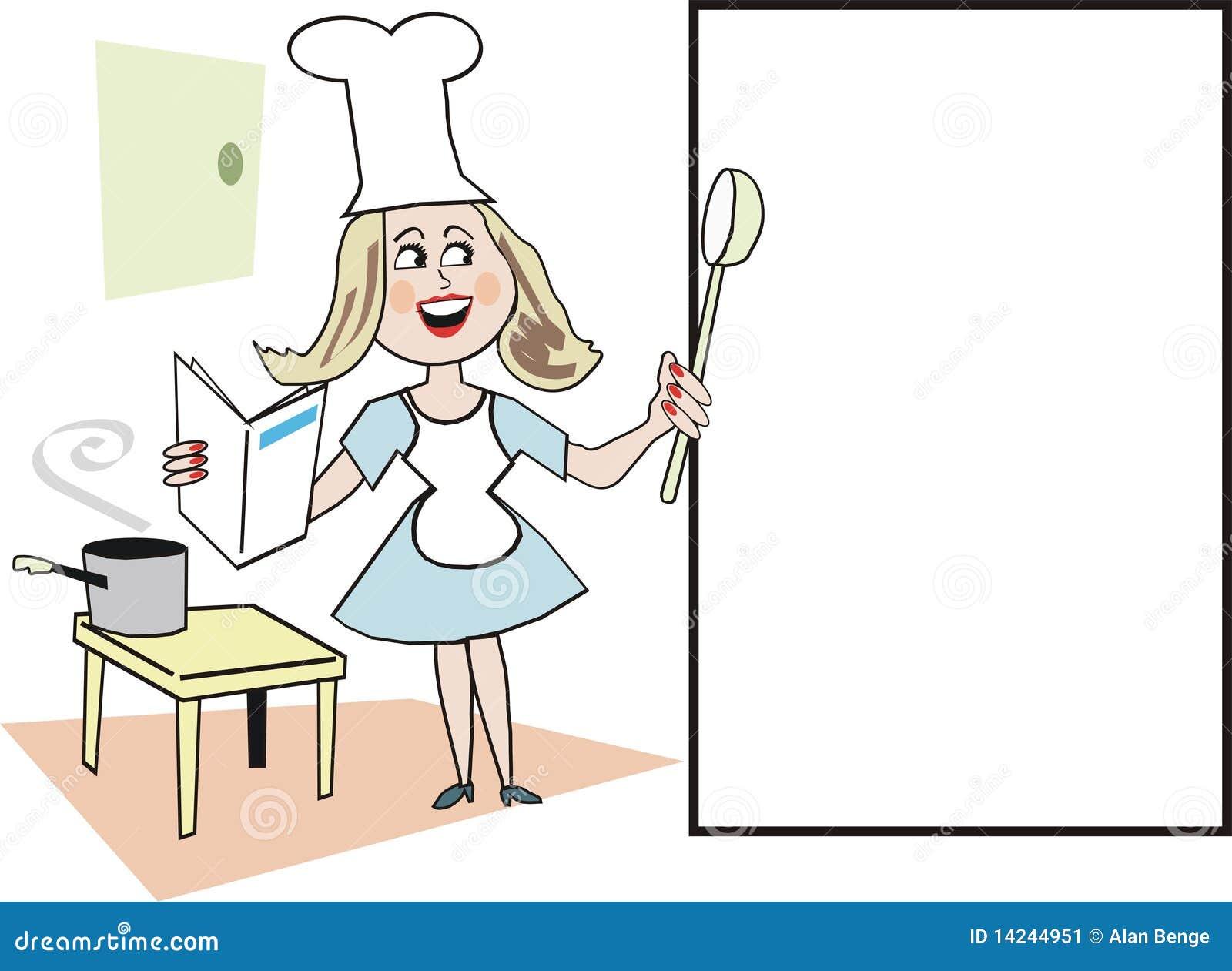 Desenhos animados da mulher de sorriso com o chapéu do cozinheiro  #81A02B 1300 1041