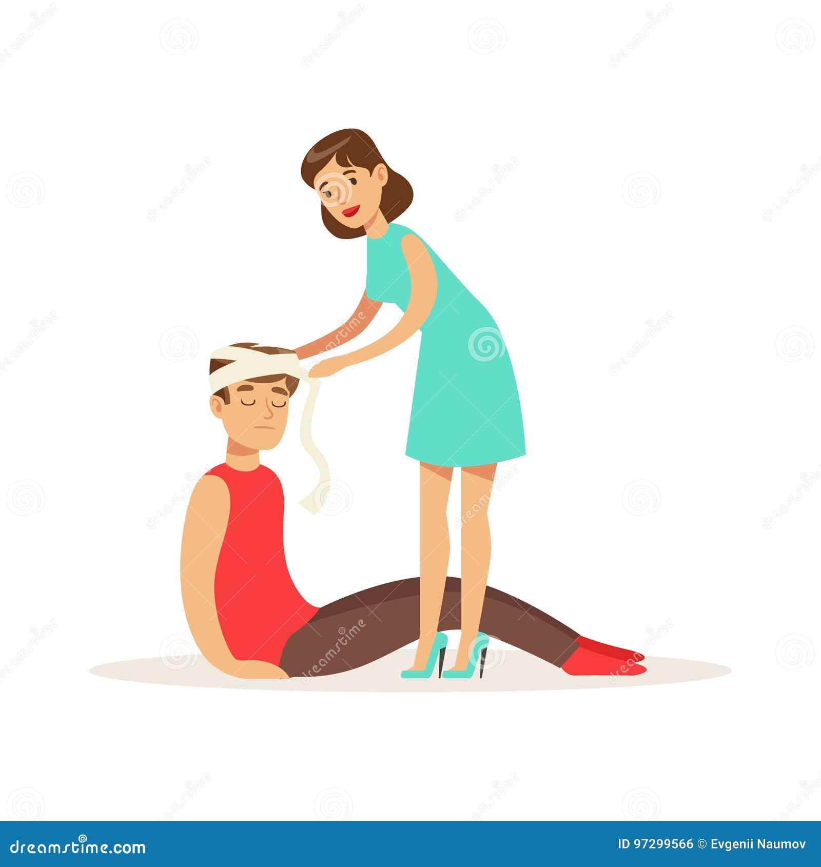 Mulher que enfaixa a cabeça do homem ferido, homem novo com traumatismo da ilustração principal do vetor