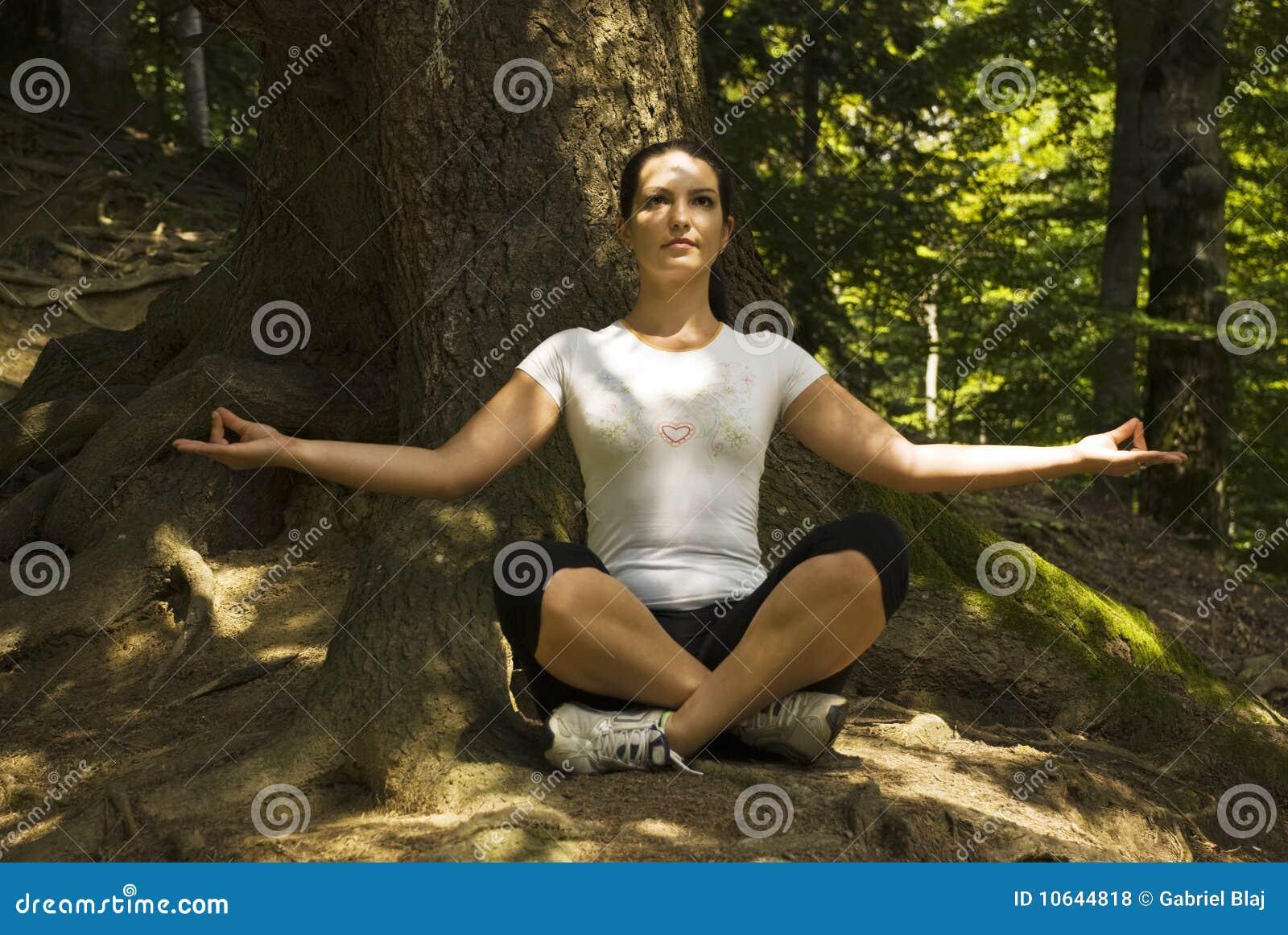 Mulher que faz a ioga na posição de lótus ao ar livre