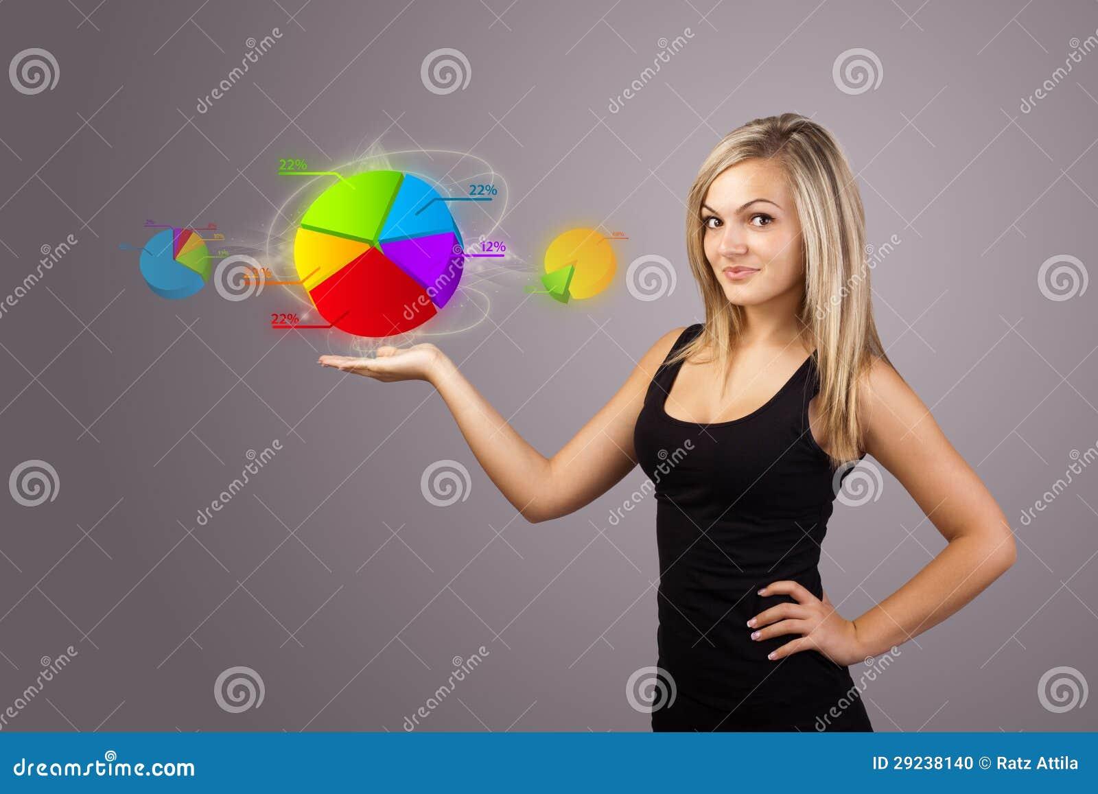 Download Mulher Que Guardara O Sinal Virtual Do Negócio Ilustração Stock - Ilustração de novo, garantia: 29238140