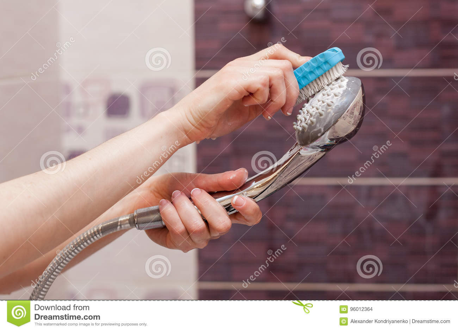 Mulher que limpa uma cabeça de chuveiro calcificada no banheiro doméstico com a escova pequena
