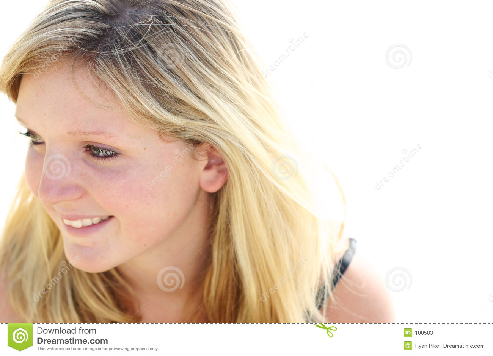 Mulher que olha lateralmente