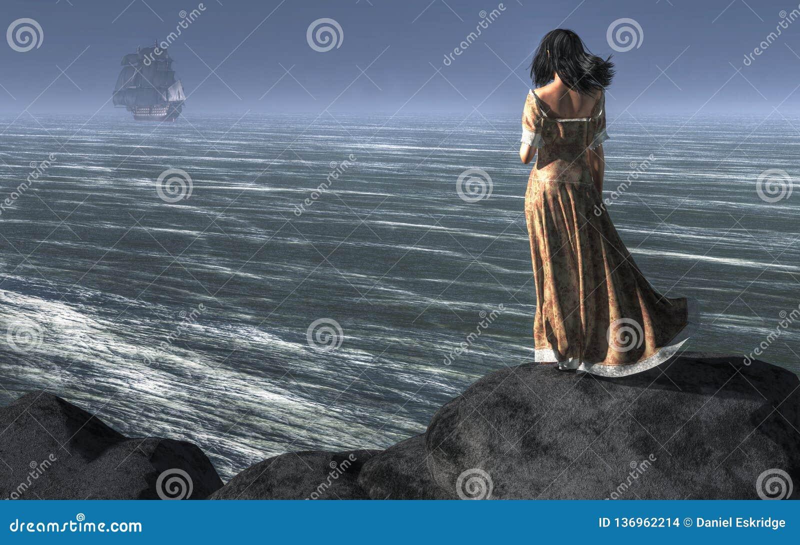 Mulher que olha um navio navegar afastado