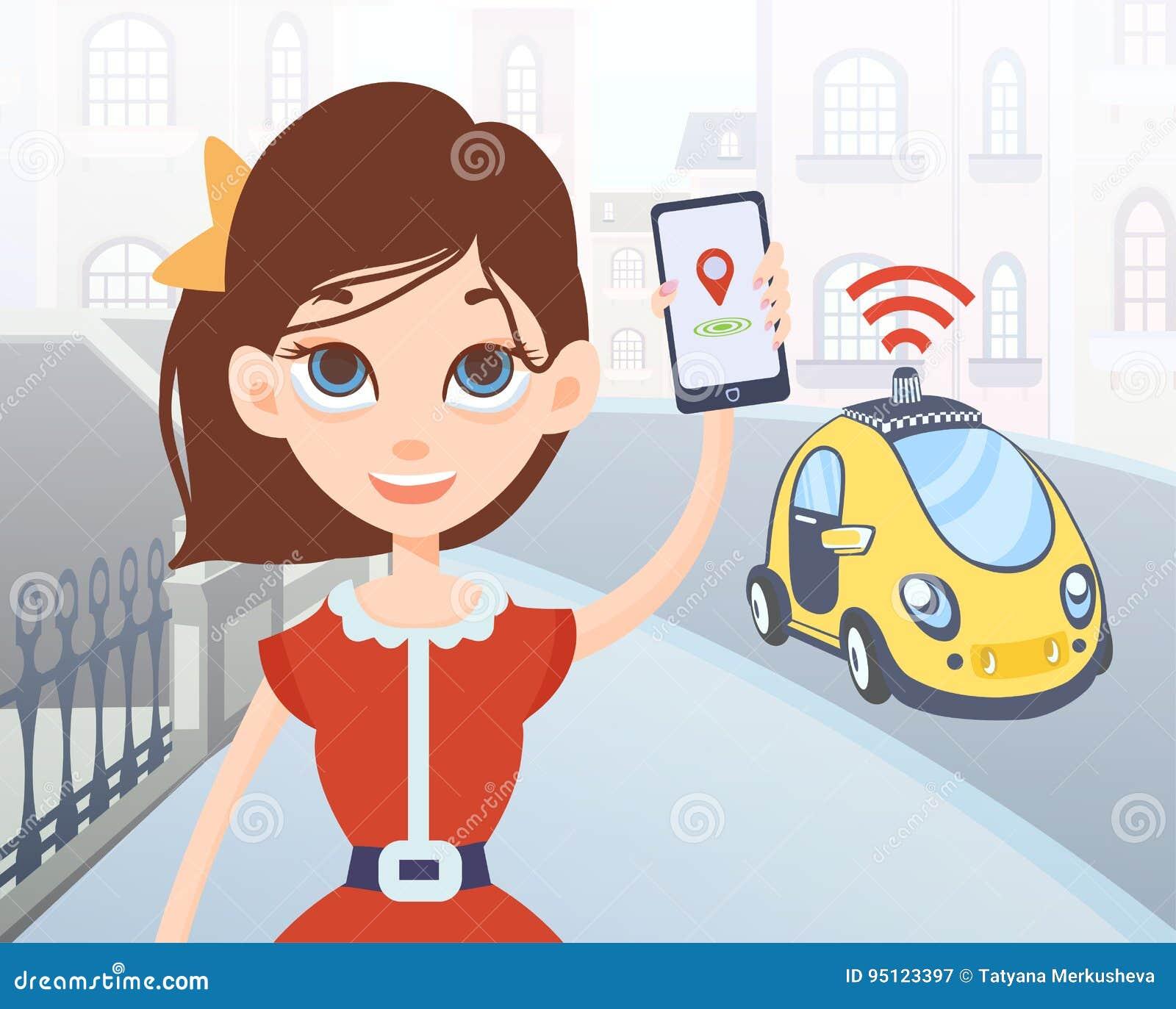 Mulher que pede o táxi driverless usando a aplicação móvel Caráter fêmea dos desenhos animados com smartphone e carro na rua da c