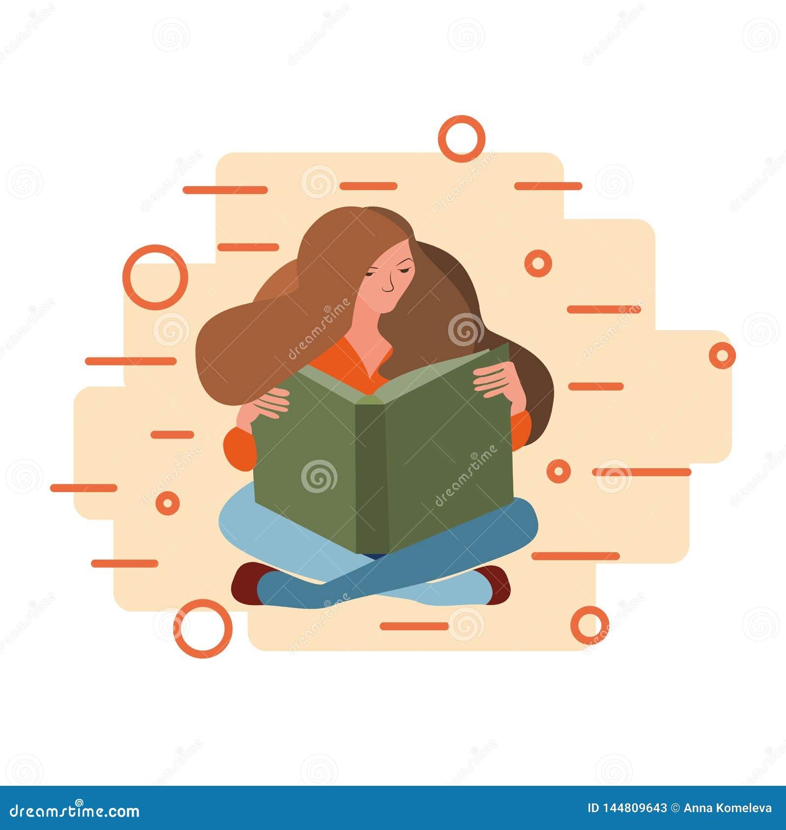 Mulher que senta-se para baixo lendo um livro em um fundo abstrato