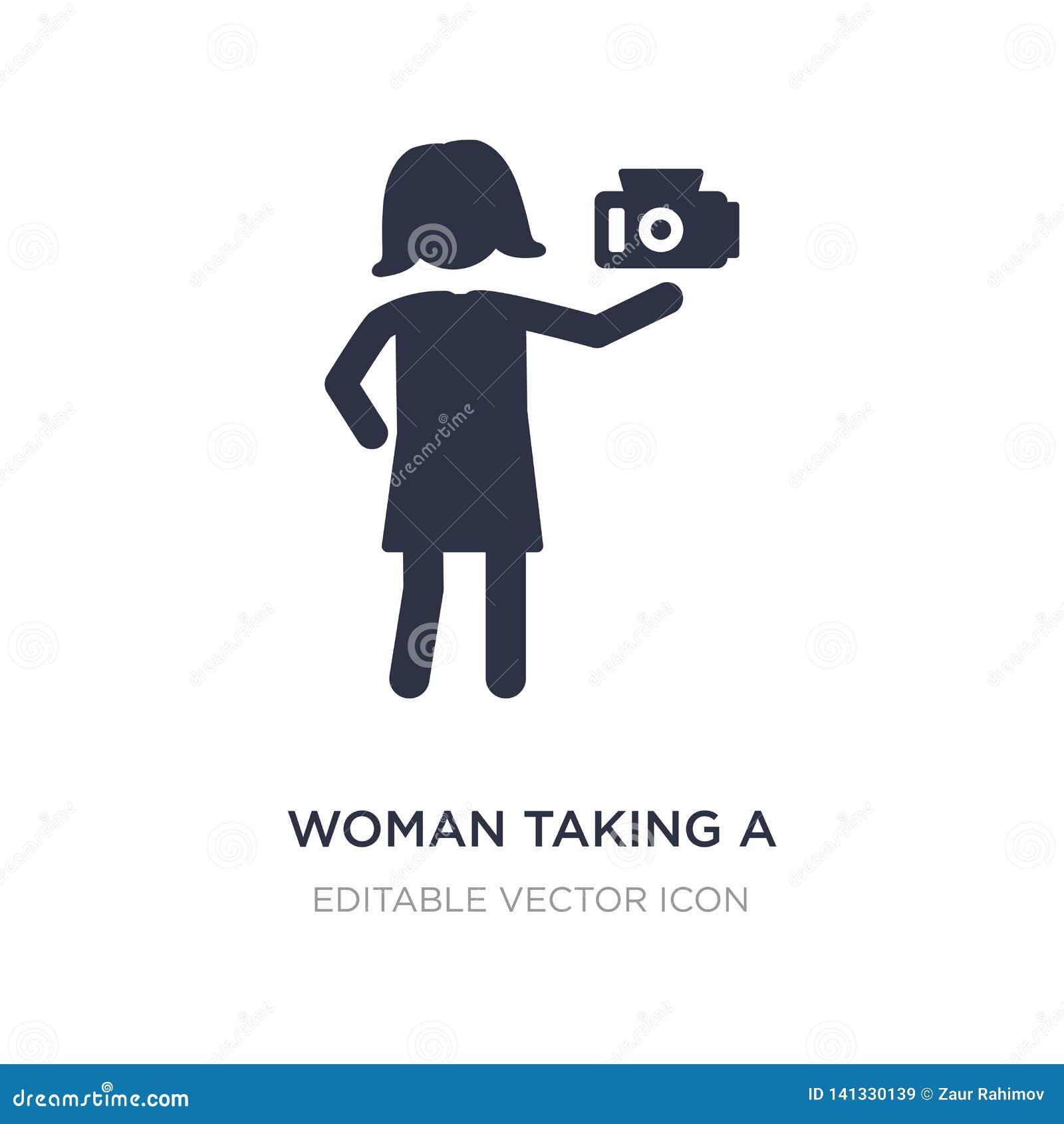 Mulher que toma um ícone da foto no fundo branco Ilustração simples do elemento do conceito dos povos