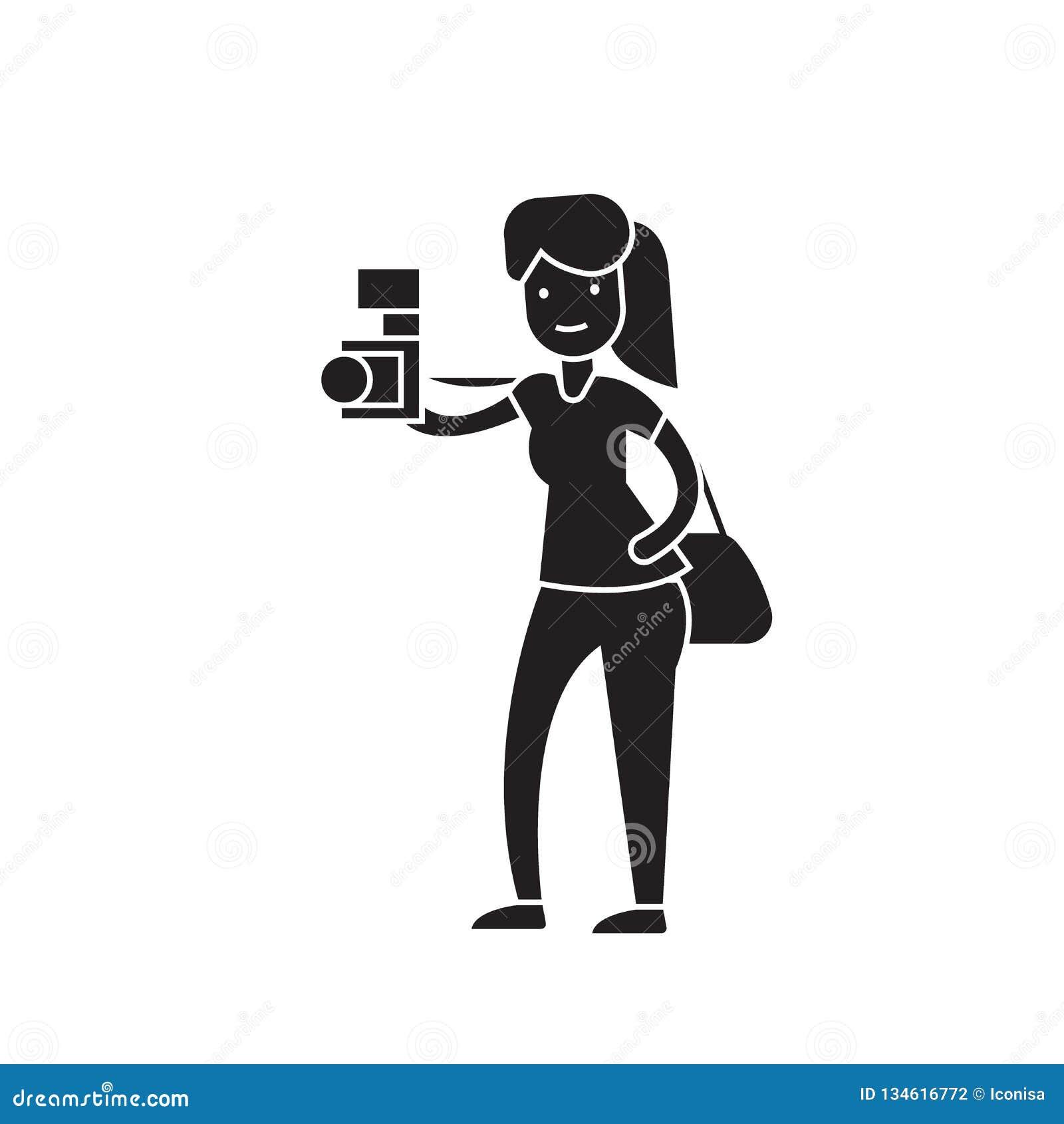 Mulher que toma um ícone do conceito do vetor do preto de imagem Mulher que toma a uma imagem a ilustração lisa, sinal