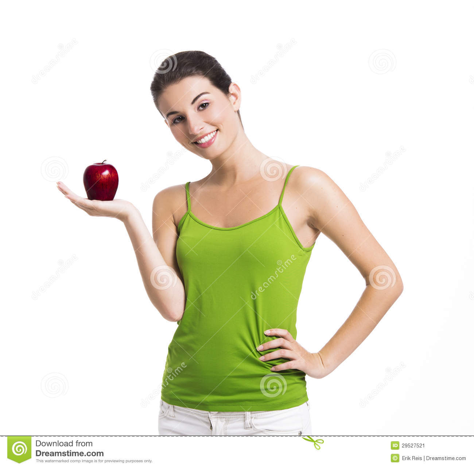 Mulher saudável que guardara uma maçã