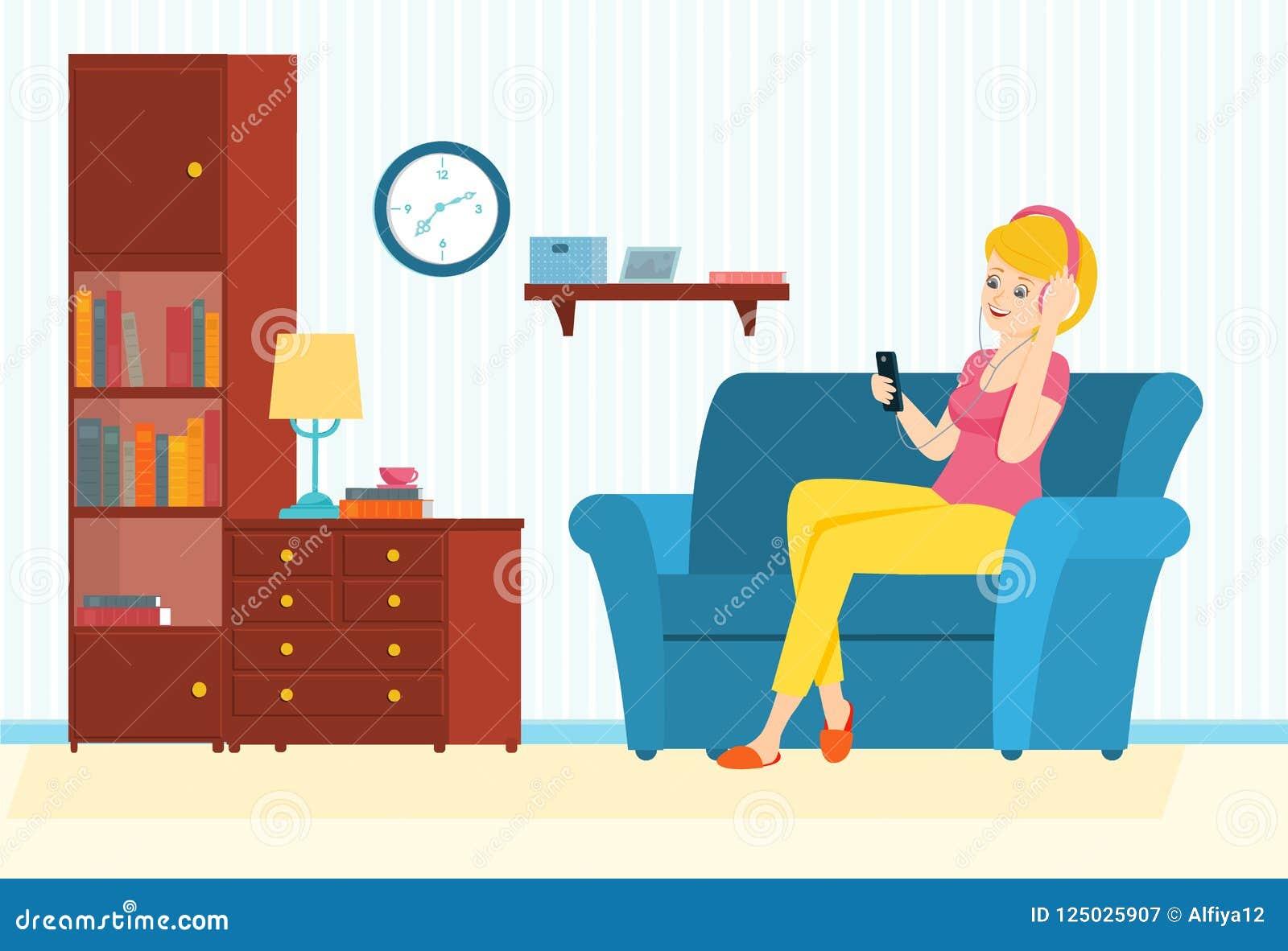 A mulher senta-se em um sofá com telefone e escuta-se a música