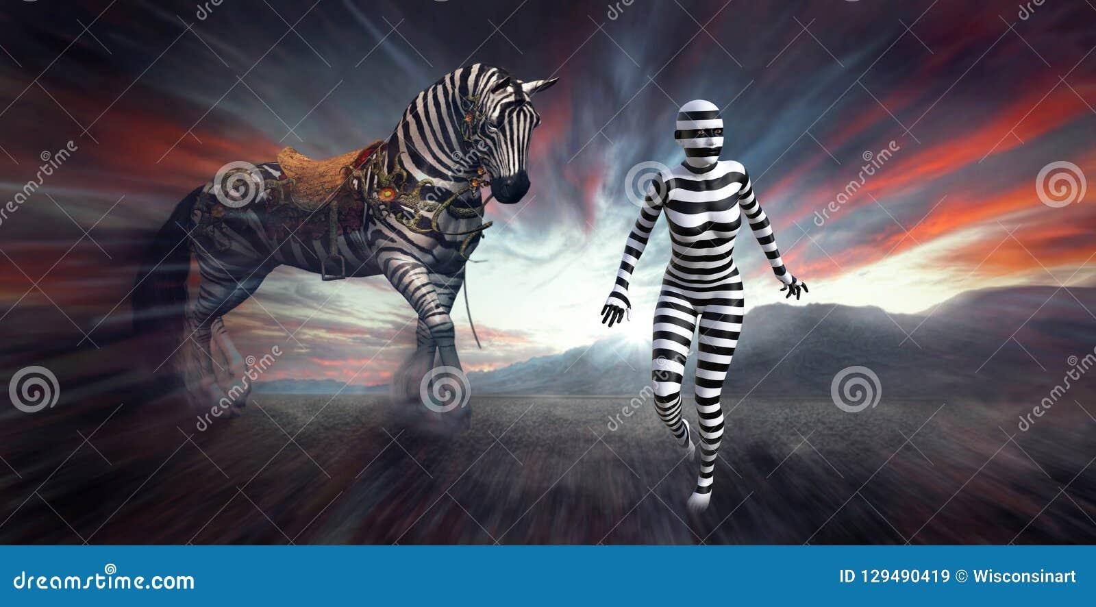 Mulher surreal da zebra, Wilflife, listras