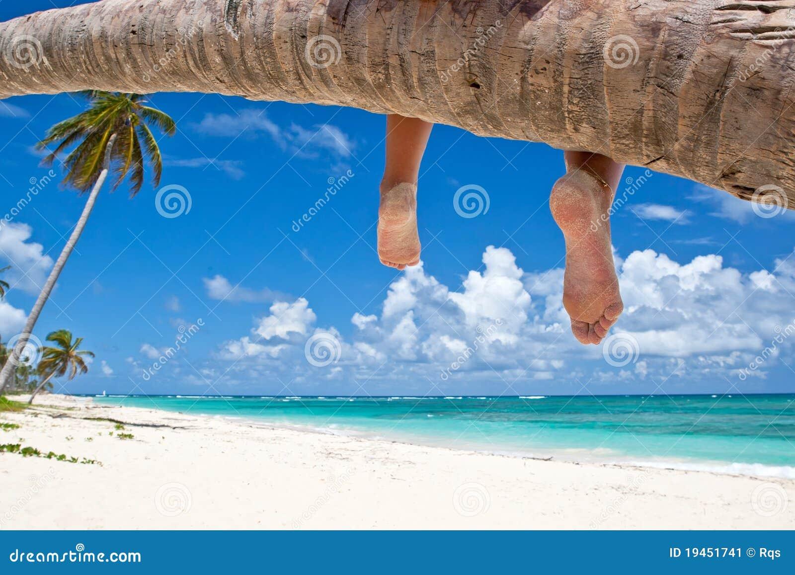 Mulher Tanned que senta-se em uma praia branca da areia da palma