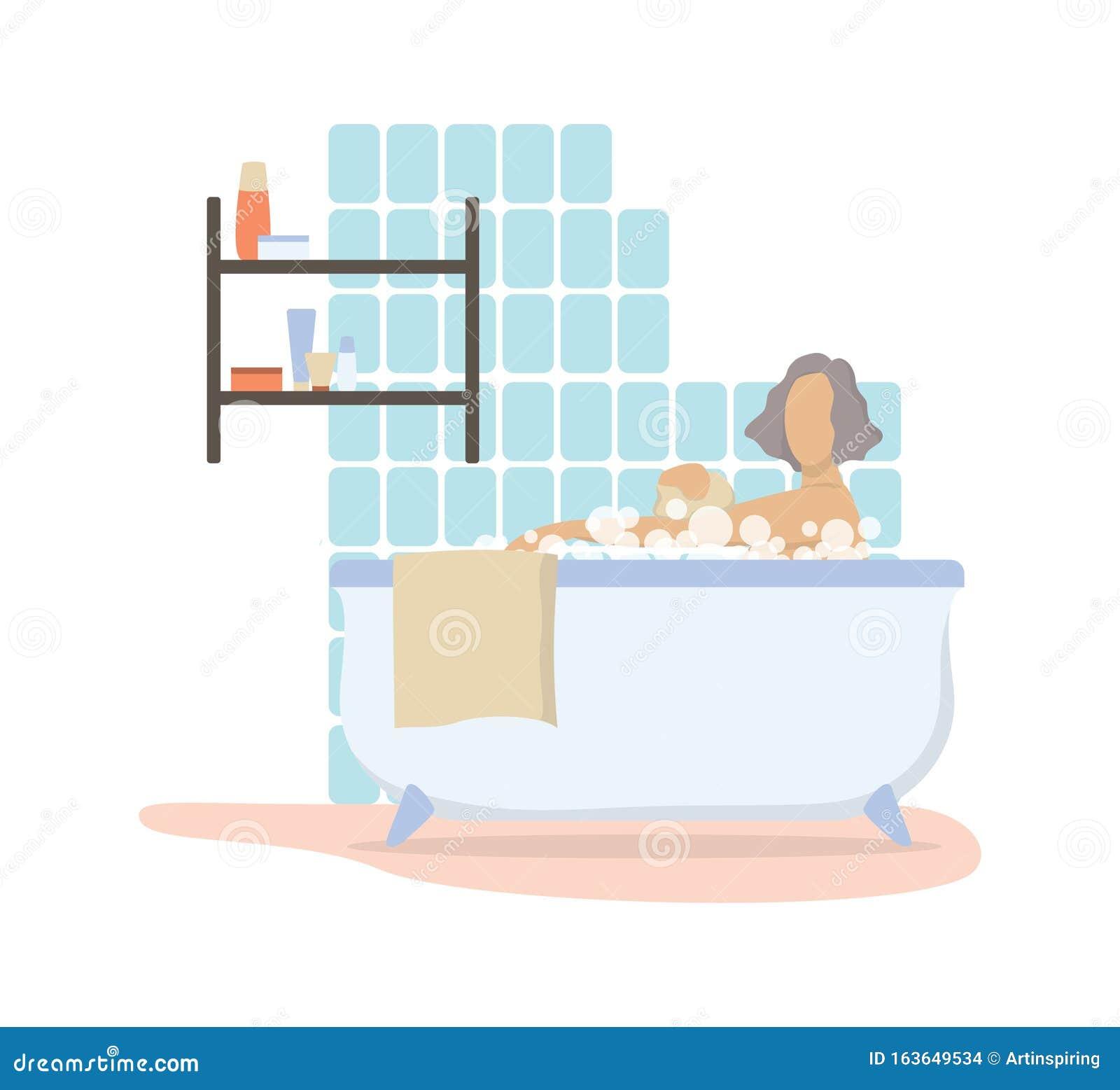 Mulher Tomando Banho De Manhã No Banheiro Bonita Personagem Feminina Ilustração do Vetor - Ilustração de banheiro, felicidade: 163649534