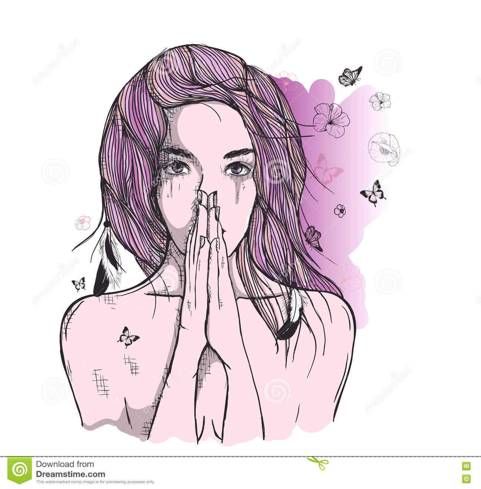 A Mulher Triste Reza Ilustracao Do Vetor Ilustracao De Penas