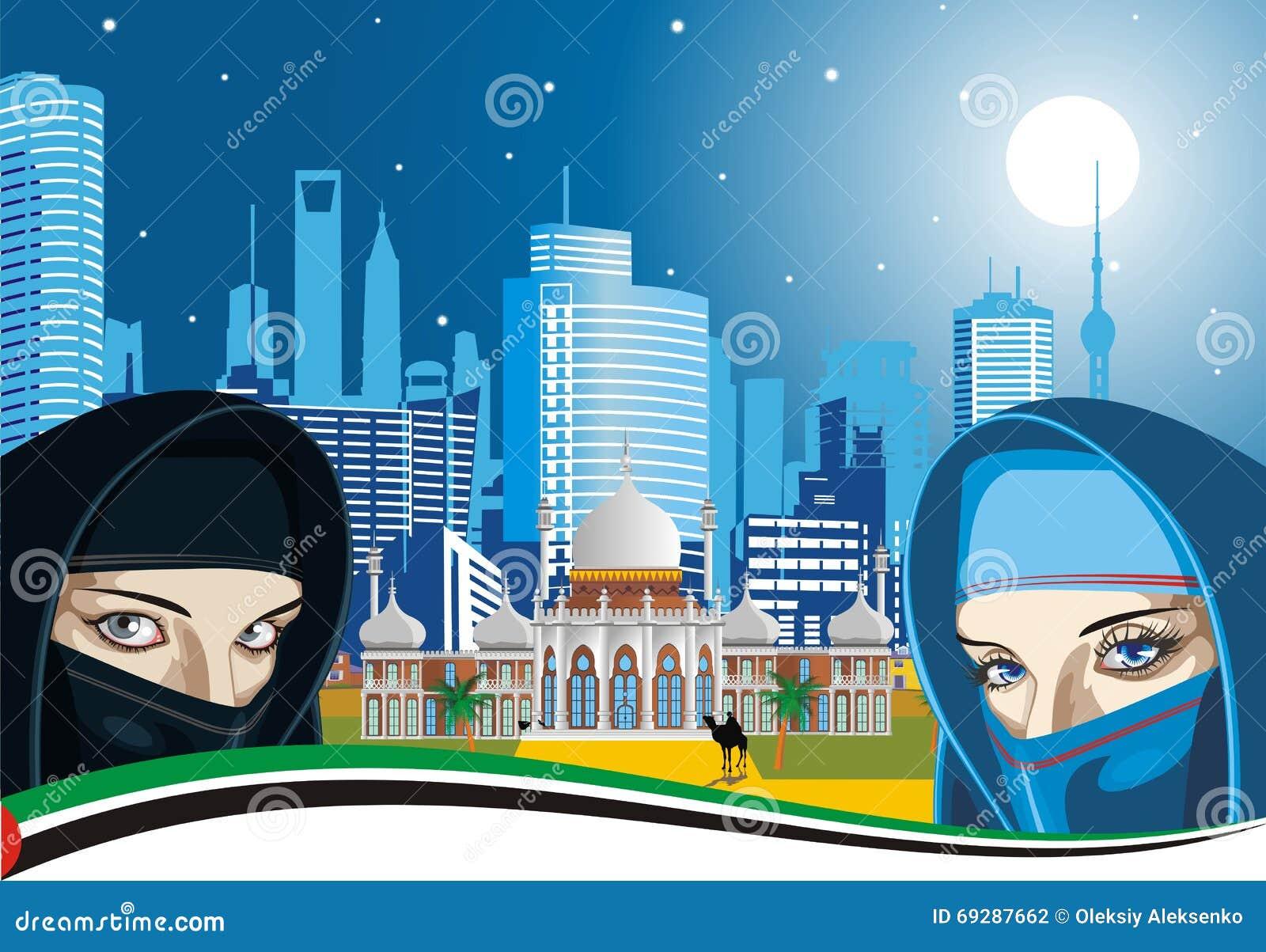 Mulheres árabes e o palácio antigo em um fundo da cidade moderna