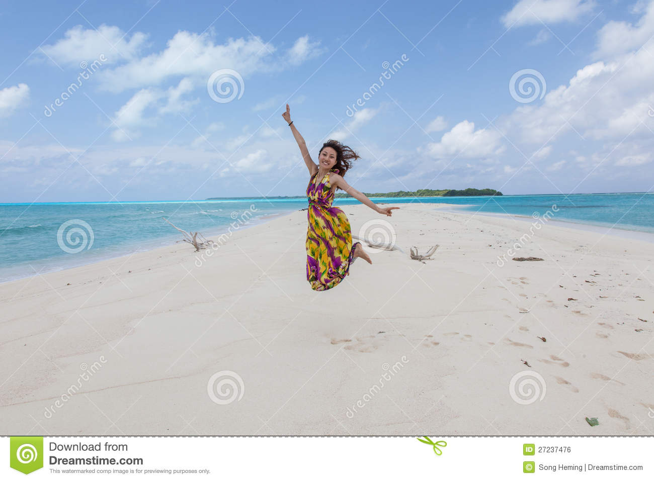 Beautiful Lady On Beach