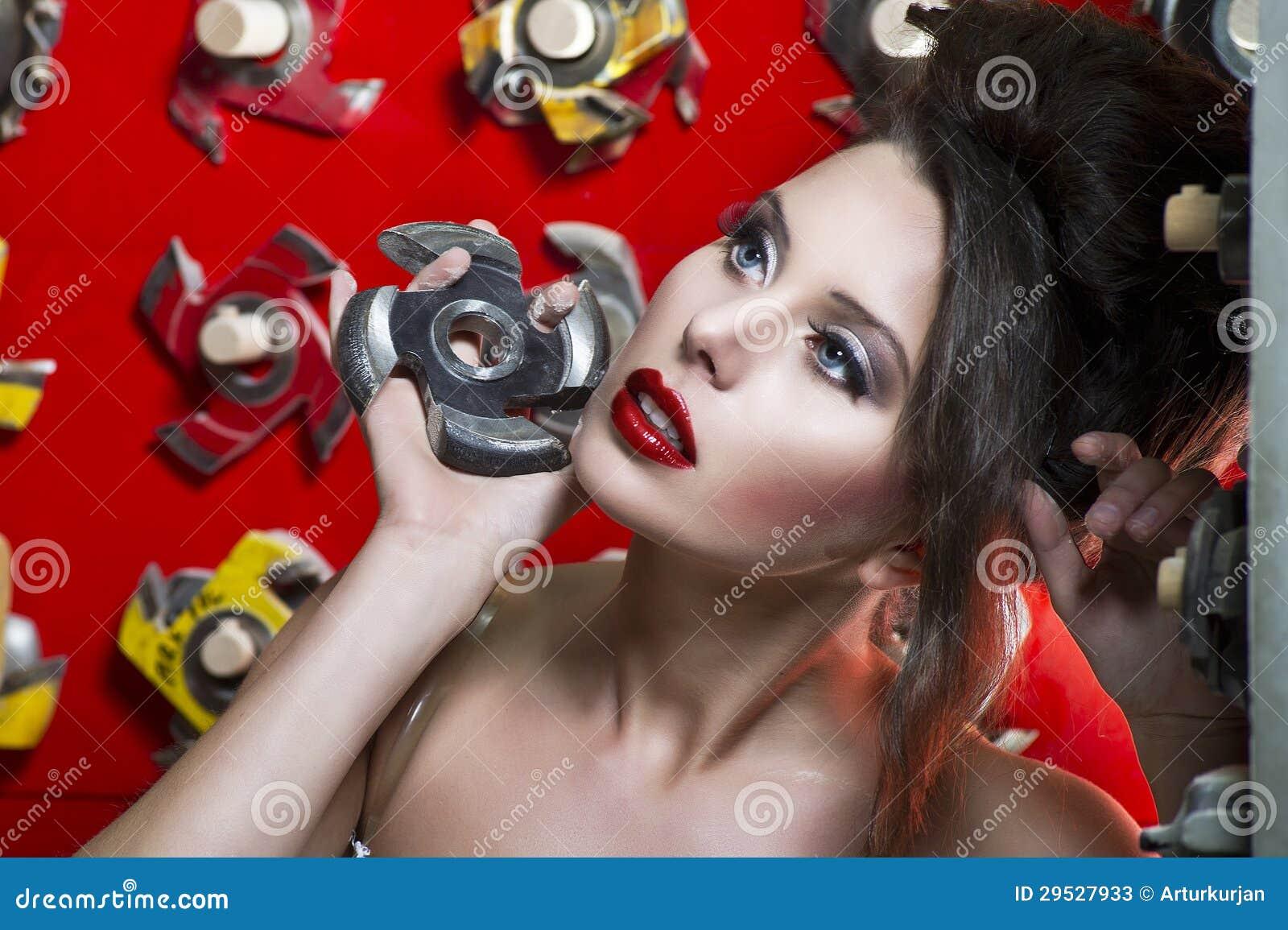 Mulheres bonitas  sexy  com bordos vermelhos