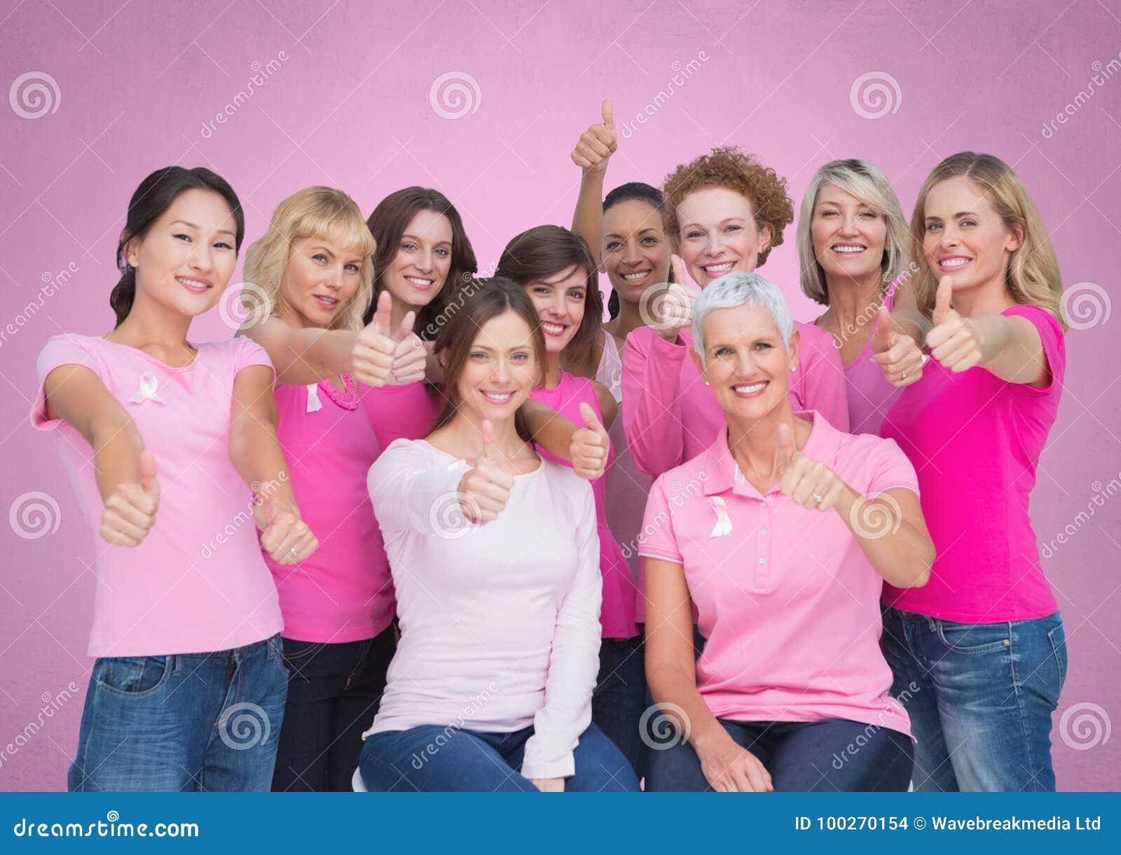 Mulheres cor-de-rosa da conscientização do câncer da mama