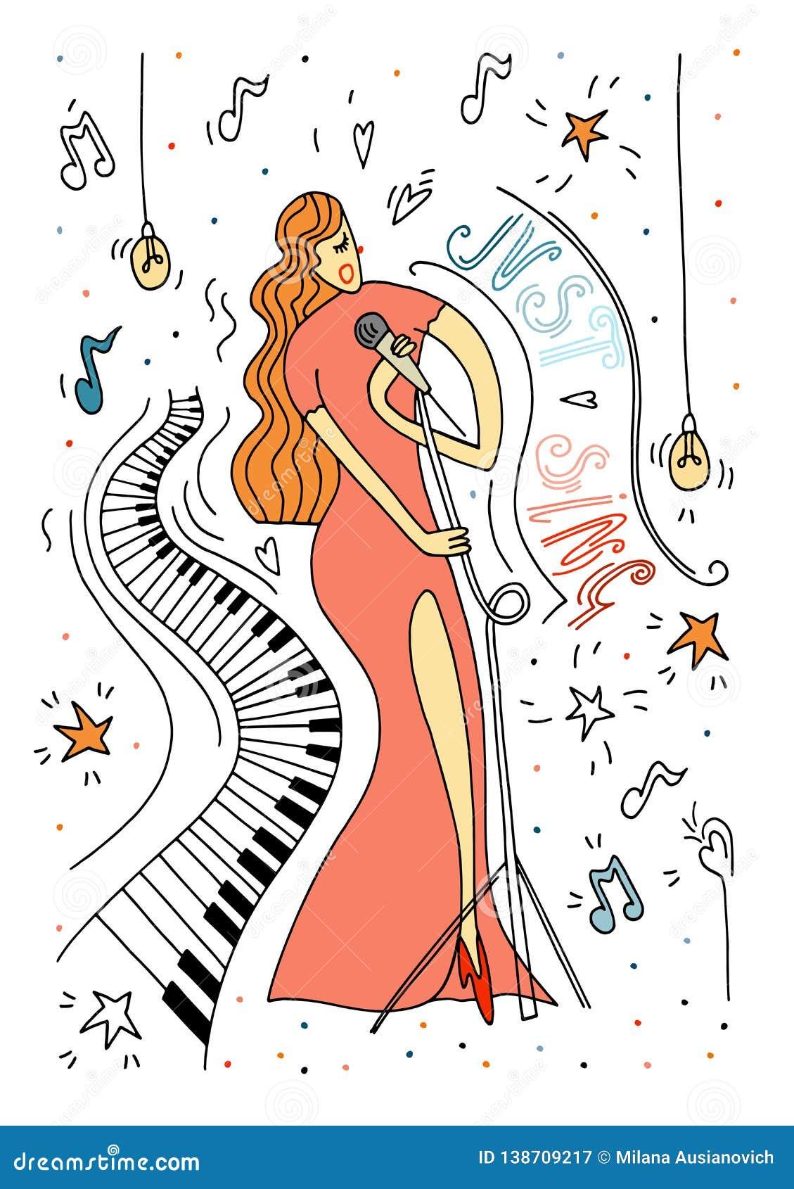 Mulheres de canto no vestido vermelho