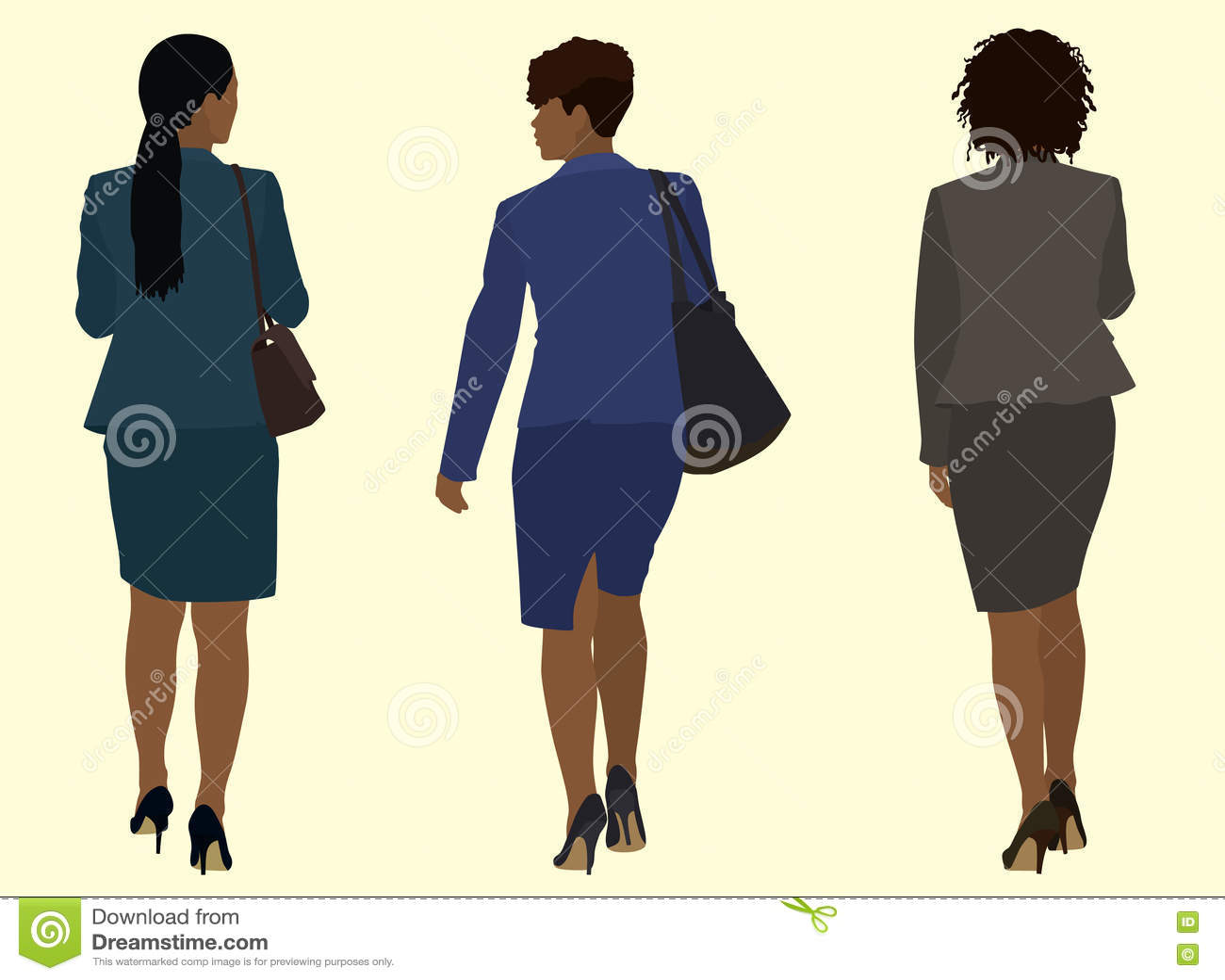 Mulheres de negócio pretas que andam afastado